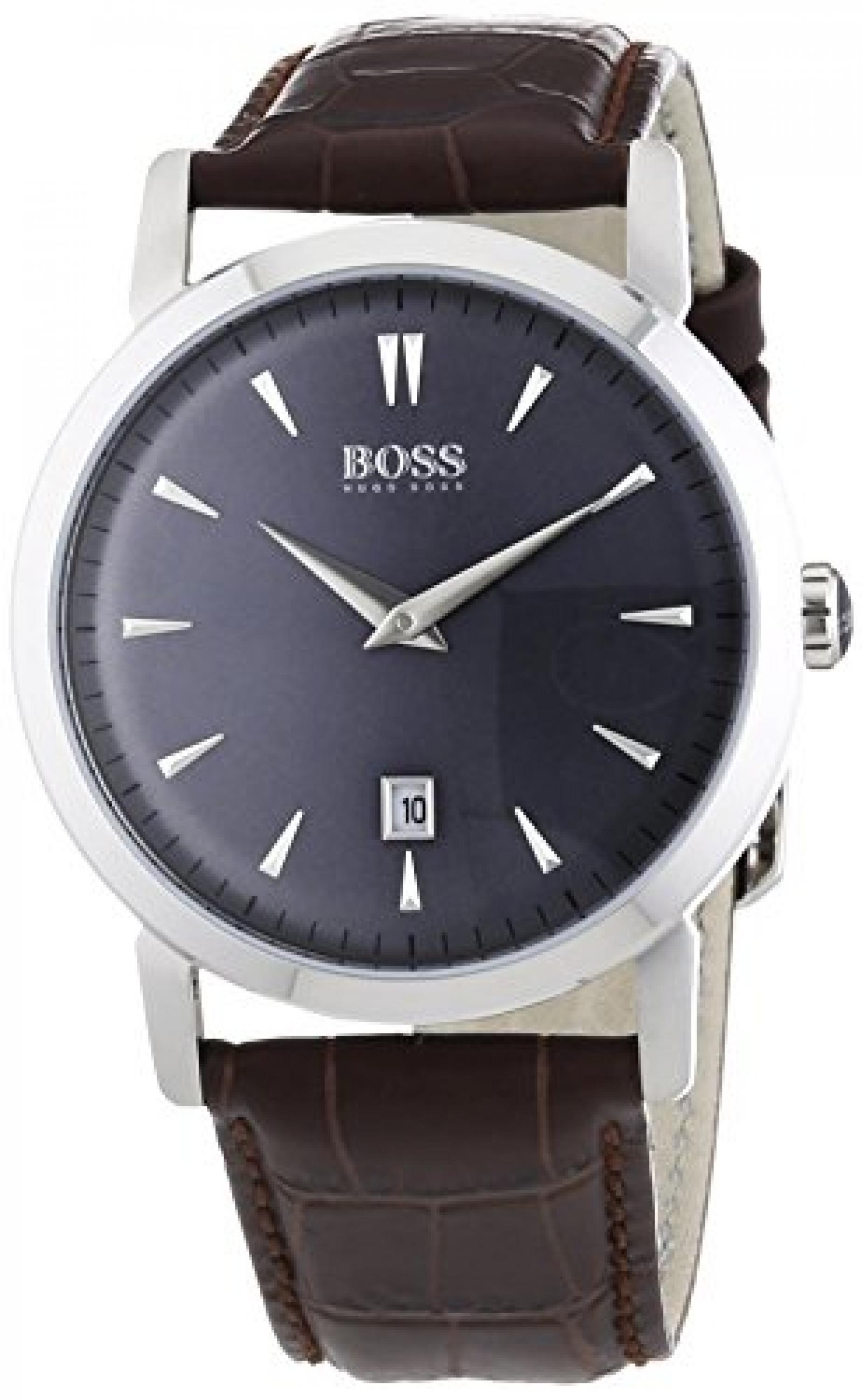 Hugo Boss Herren-Armbanduhr XL Slim Ultra Round Analog Quarz Leder 1513090