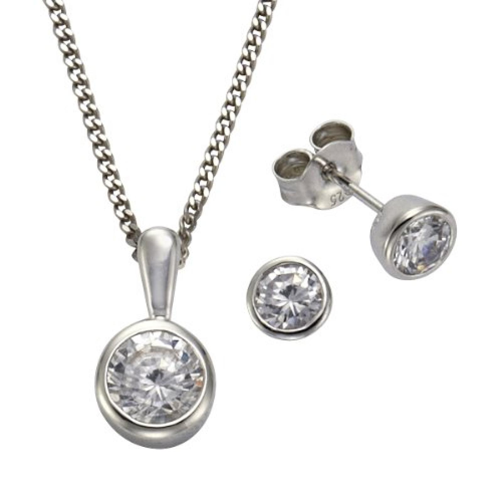 ZEEme Damen-Set: Halskette + Ohrringe 925 Sterling Silber Zirkonia weiß 45cm 500201385-1