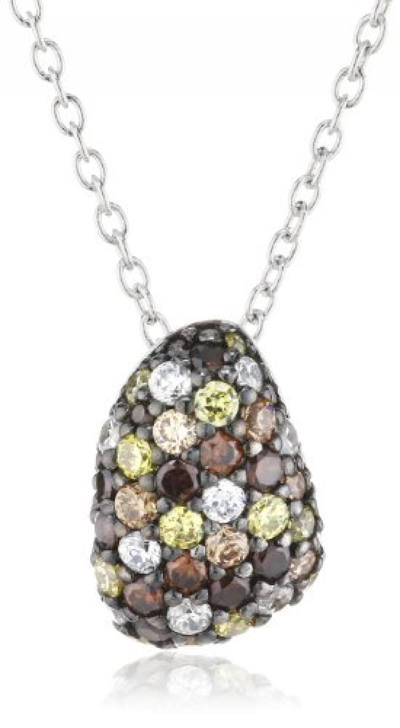 Damen Halskette Extreme Pavée Glas Zirkonia 925 Sterling Silber rhodiniert 42 cm JPNL90499E420