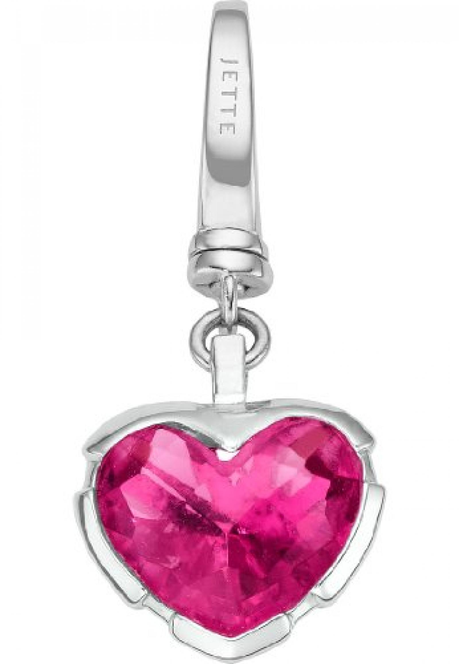 JETTE Charms Damen-Charm CHARM 925er Silber rhodiniert 1 Kristall One Size, fuchsia