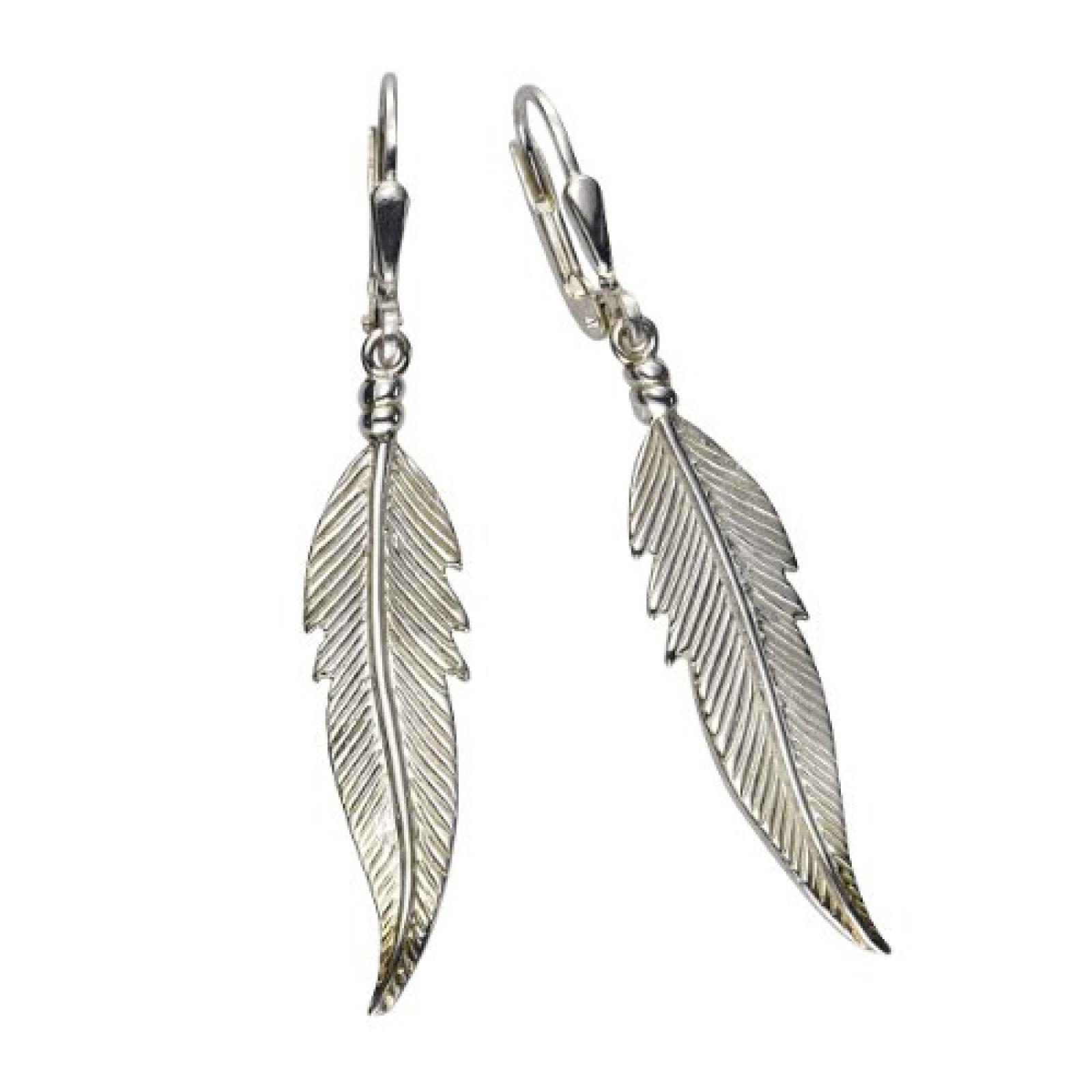 ZEEme Damen-Ohrhänger 925 Sterling Silber Feder 48mm lang 371230159