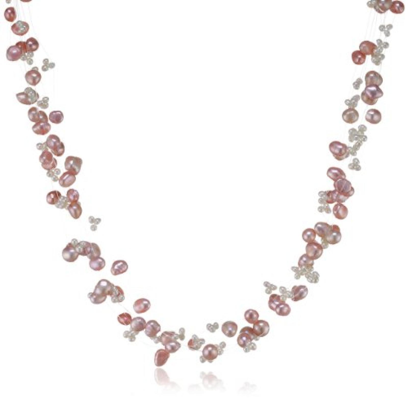 Valero Pearls Fashion Collection Damen-Kette Hochwertige Süßwasser-Zuchtperlen in ca.  4-6 mm Barock rosa/weiß  43 cm + 5 cm Verlängerung   60200102