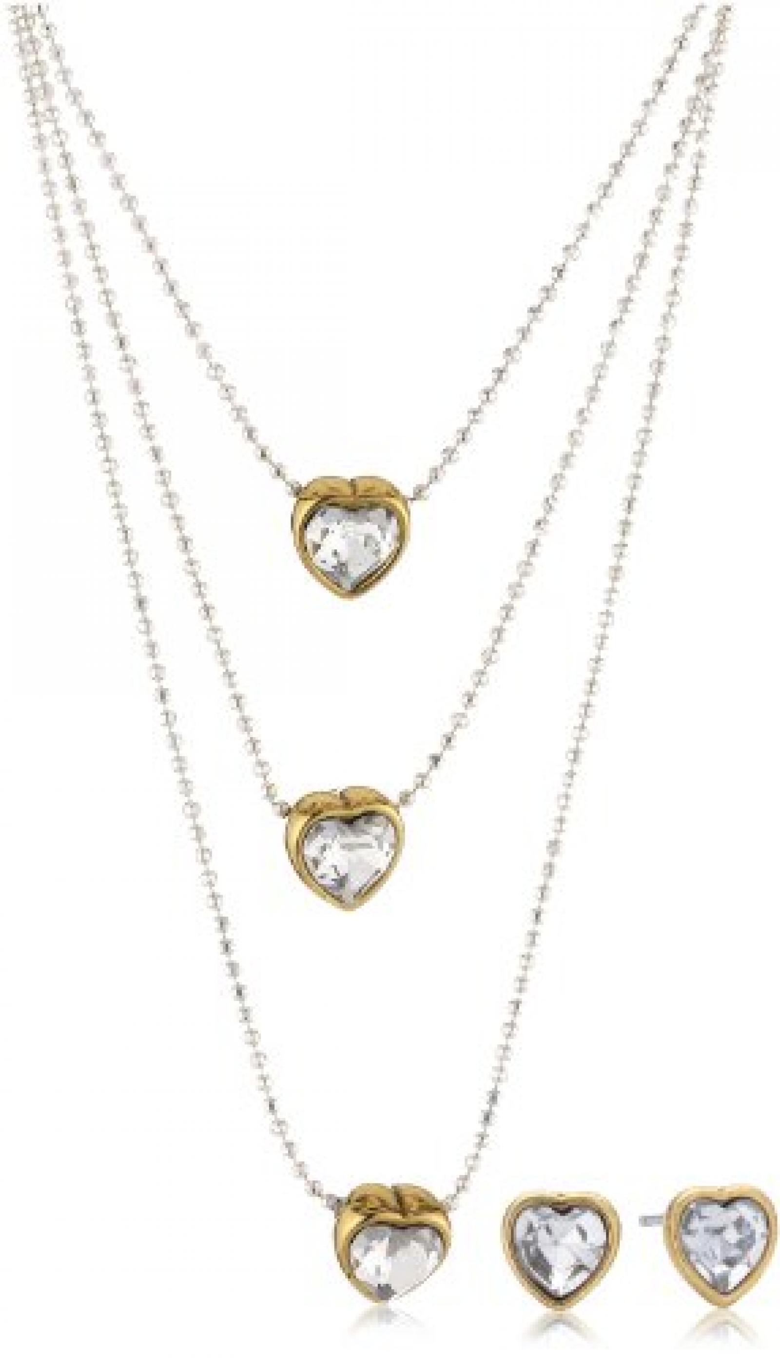Pilgrim Jewelry Damen-Set: Halskette + Ohrringe Messing Kristall Valentine Schmuck Set weiß 901416019