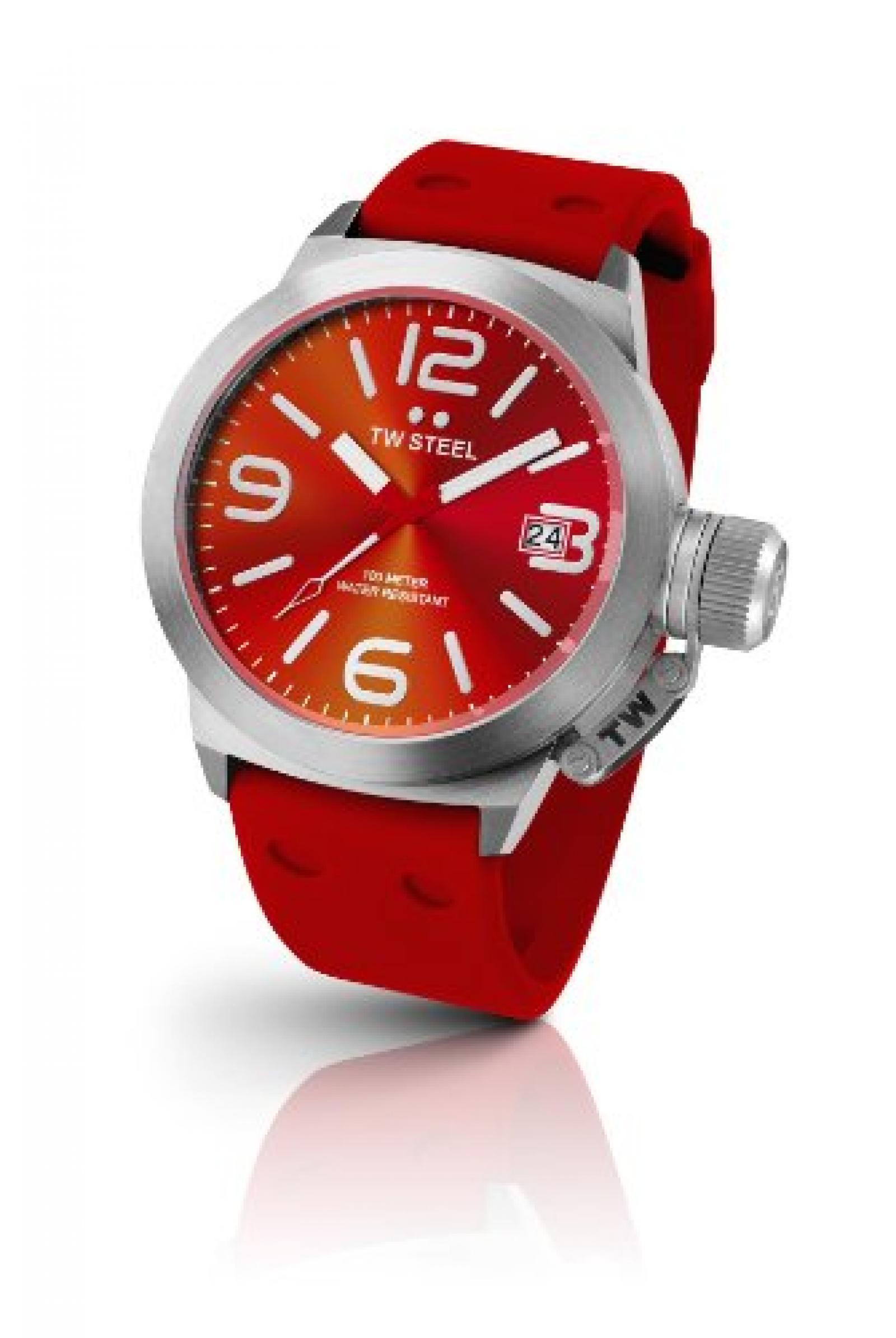 TW Steel Damen-Armbanduhr XL Canteen Style Analog Quarz Kautschuk TW-510