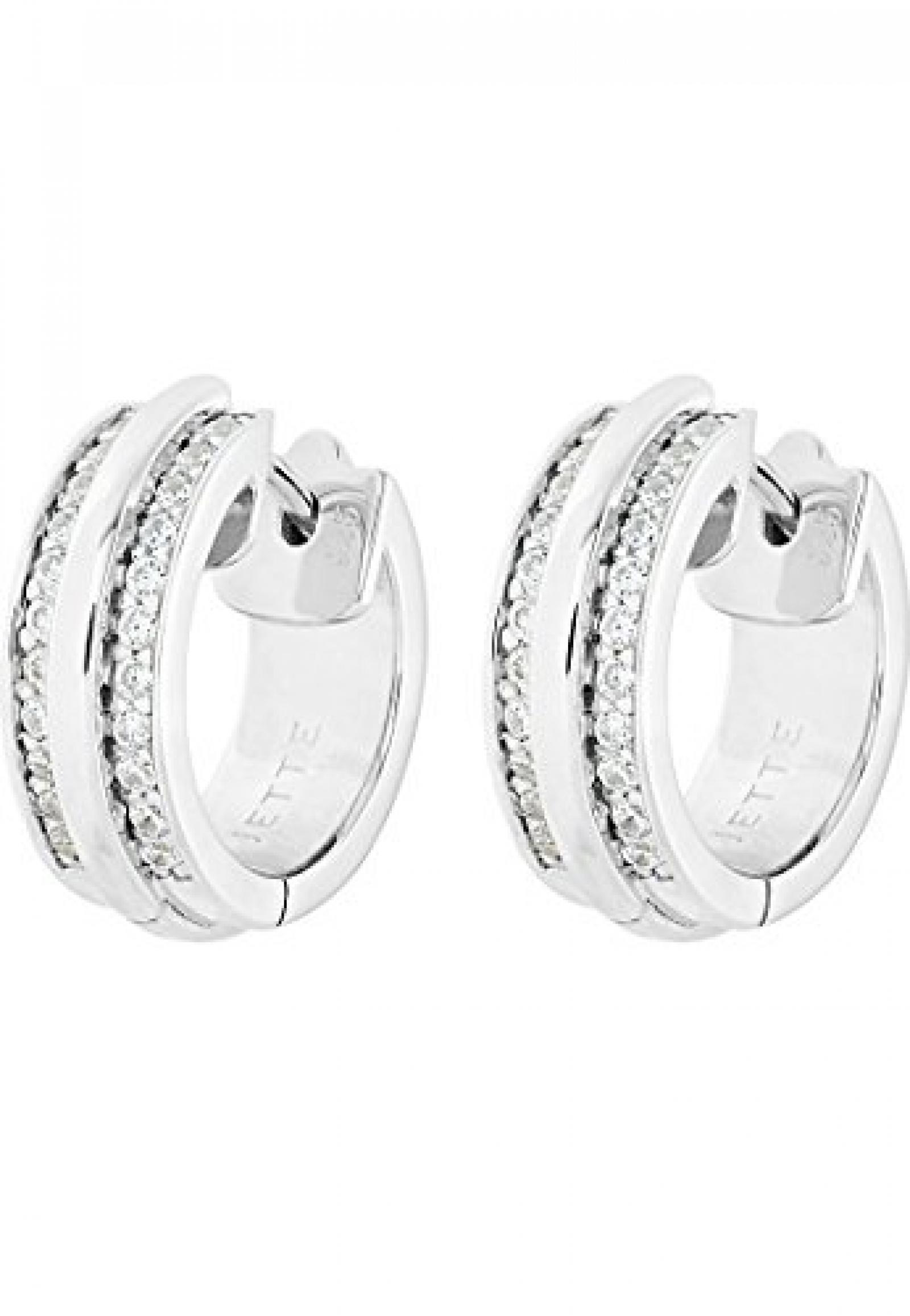 JETTE Silver Damen-Creole Silber 46 Zirkonia One Size, silber