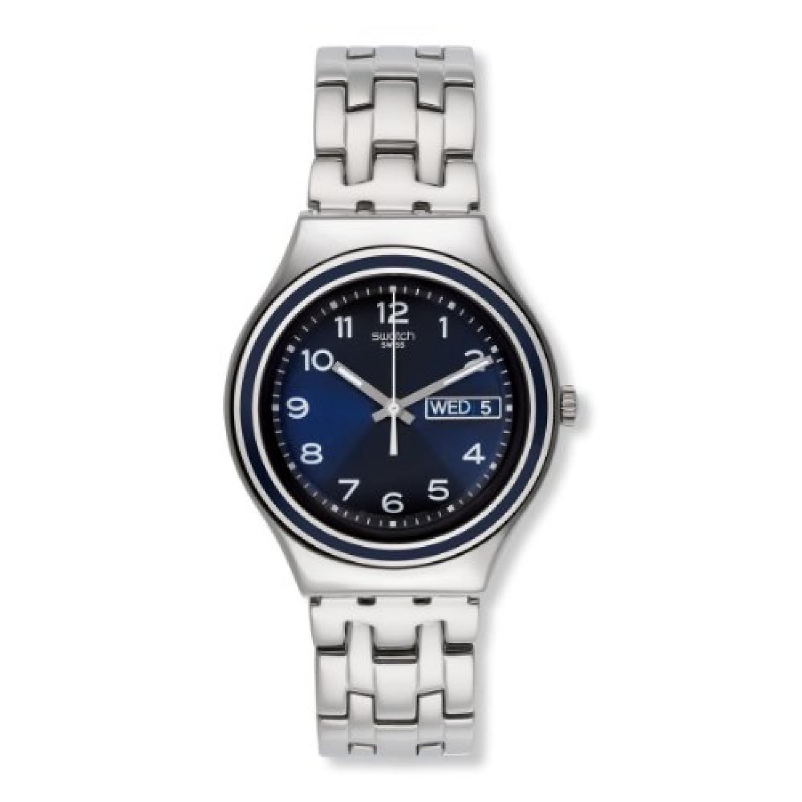 Swatch Unisex-Armbanduhr Classic Blue Influence Analog Quarz Edelstahl YGS765G