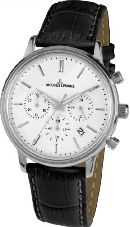 Jacques Lemans Unisex-Armbanduhr Nostalgie Chronograph Quarz Leder N-209A