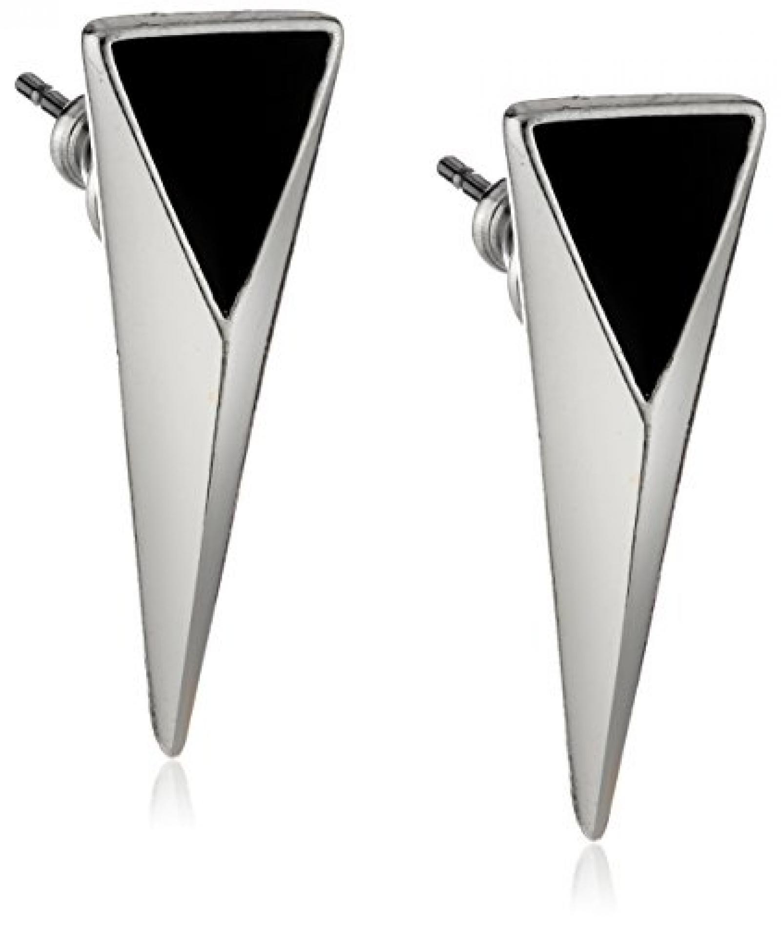 Pilgrim Jewelry Damen-Ohrstecker aus der Serie Energetic versilbert schwarz 2.0 cm 251316163