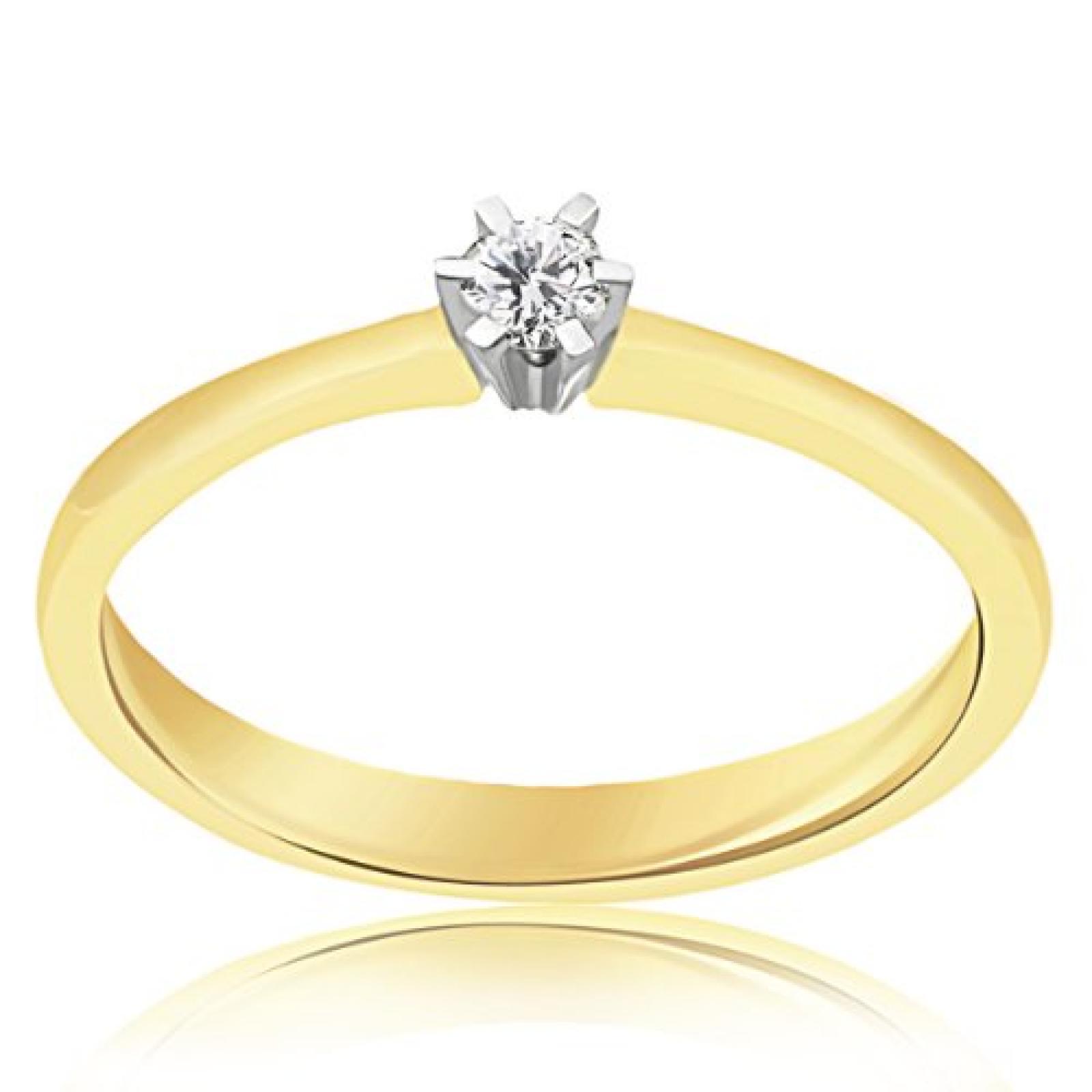 Goldmaid Damen-Ring 585 Gelbgold 1 Brillant 0,10ct So R3986GG