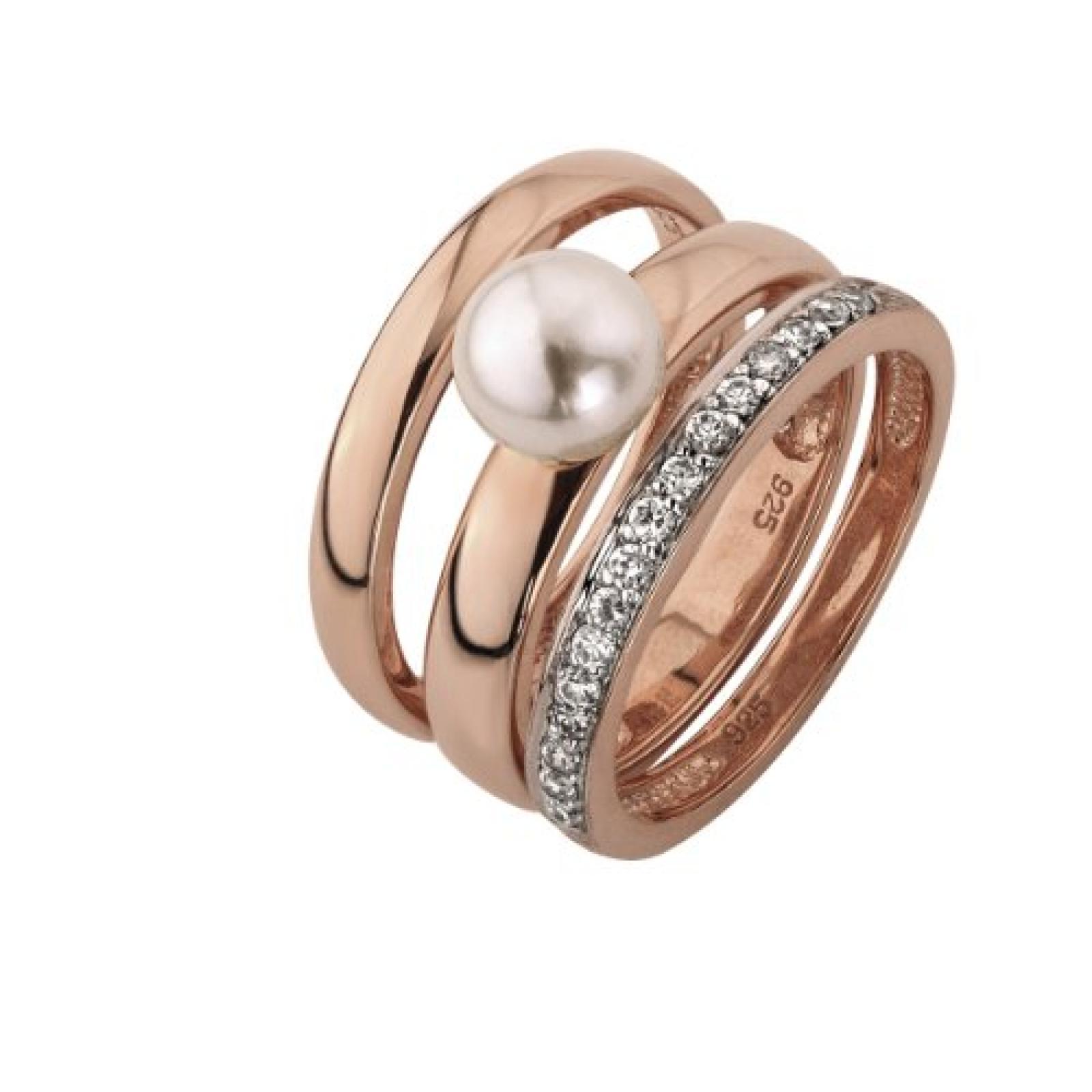 Celesta Damen-Ring 925 Sterling Silber teilrhodiniert Zirkonia Celesta Silver weiß 3-teilig Perle+Zirkonia weiß Gr. 50 (15.9) 360271180-2-016