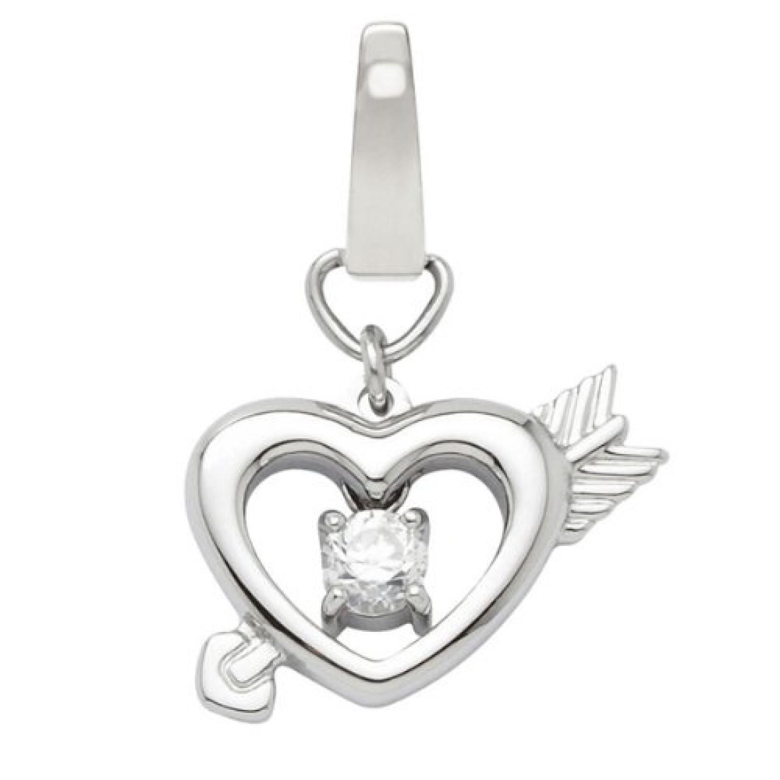 Fossil Damen-Charm Anhänger Herz mit Pfeil Zirkonia JF86770040