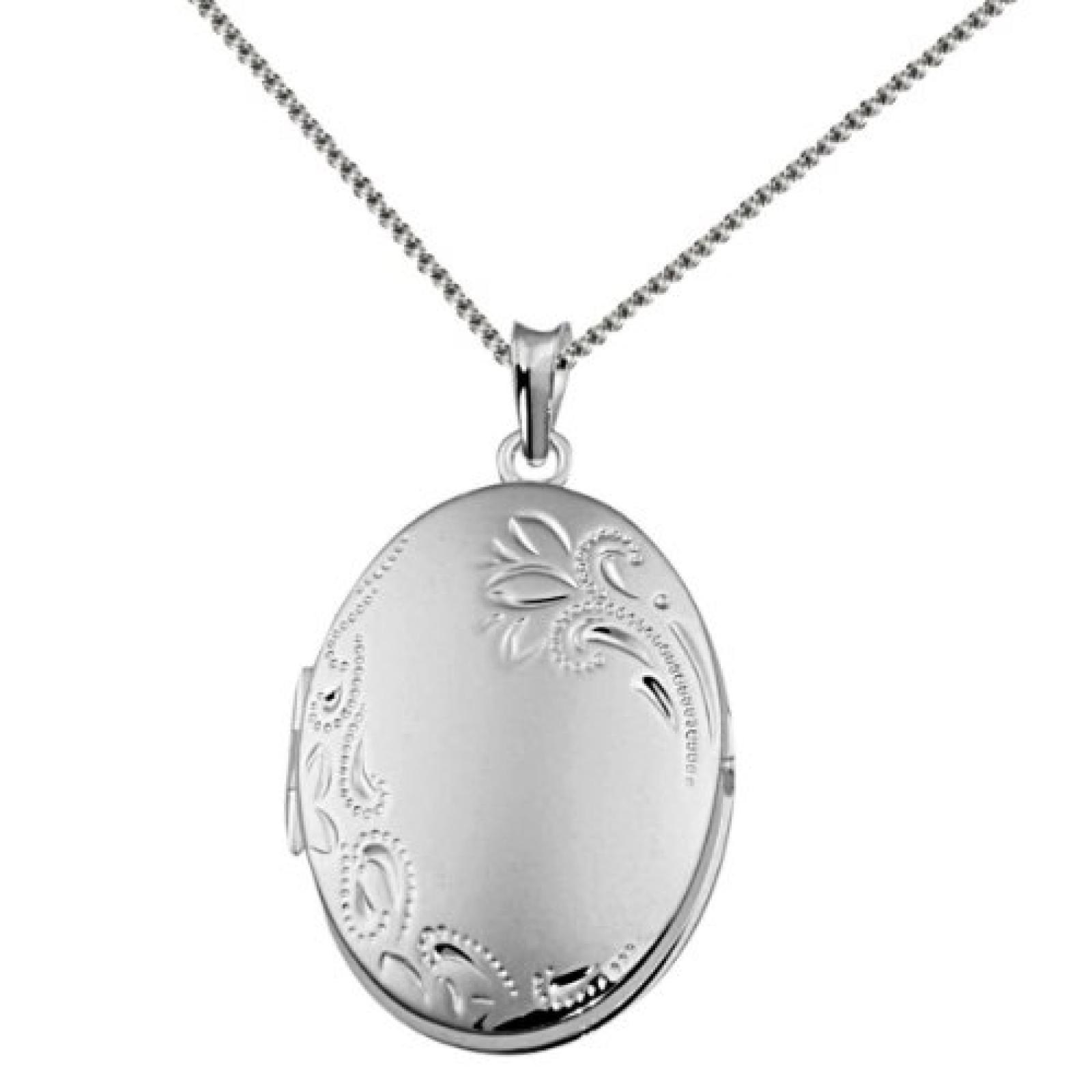 Goldmaid Damen-Halskette 925 Sterling Silber Medallion Blume 45 cm Fo C3405S