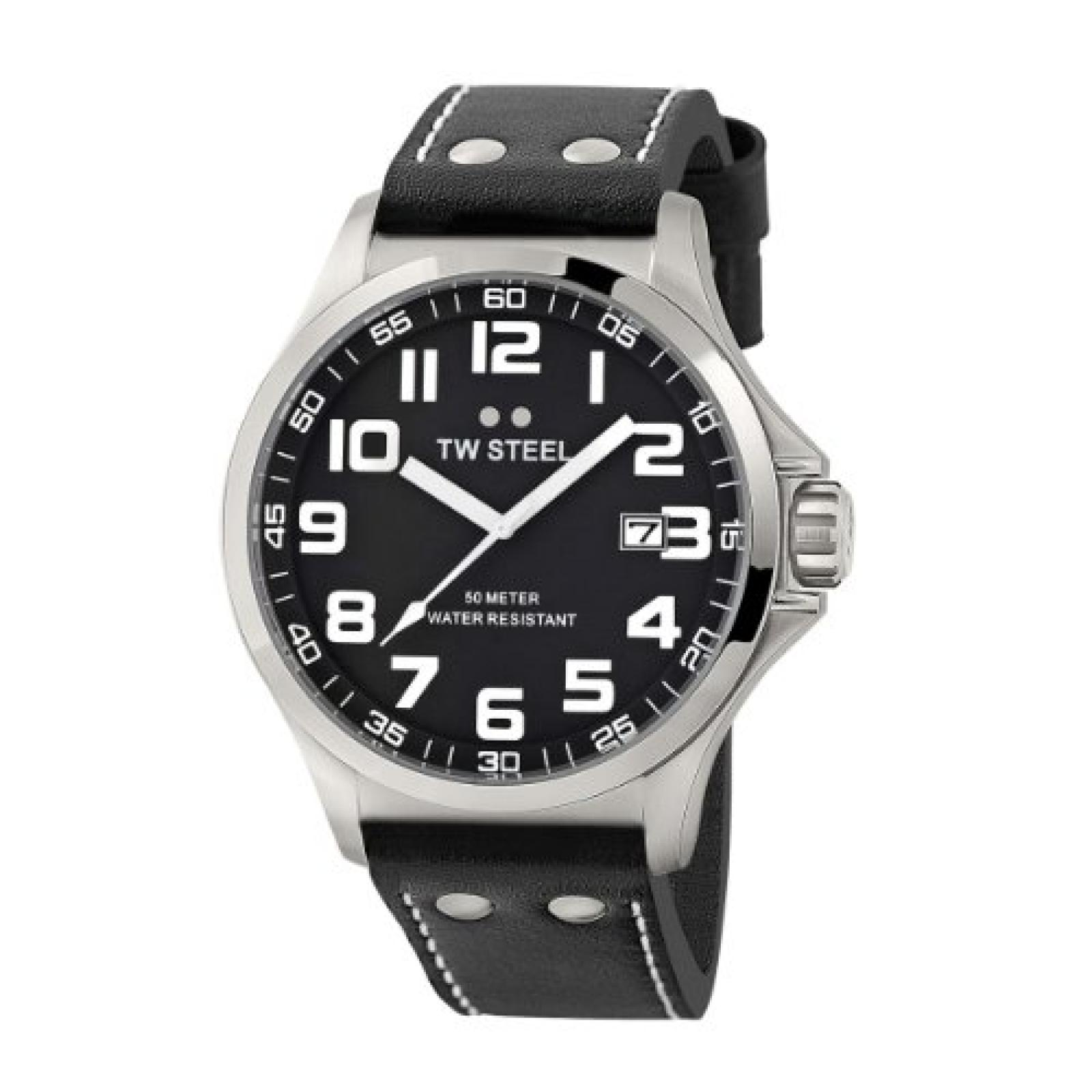 TW Steel Herren-Armbanduhr XL Pilot Analog Quarz Leder TW-409