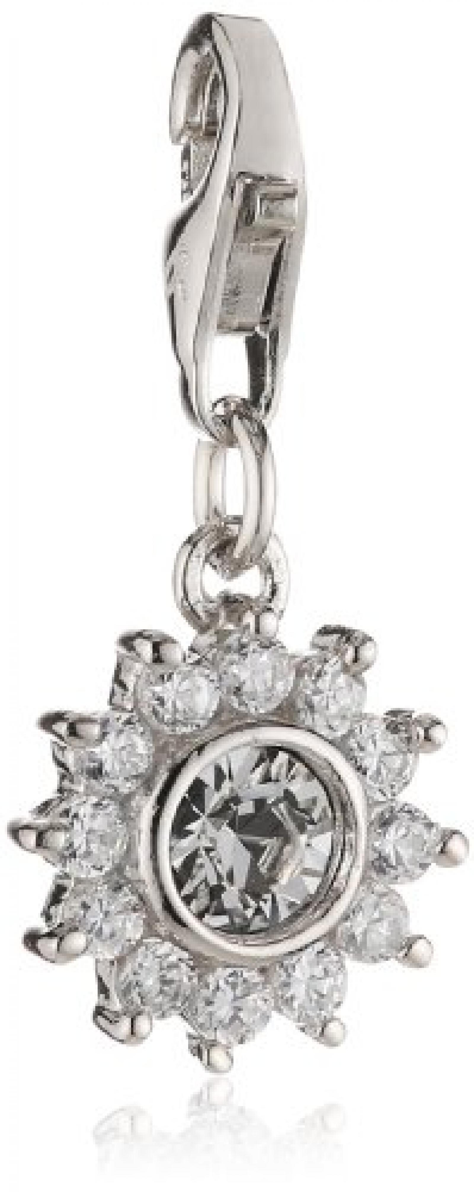 s.Oliver Damen-Charm 925 Sterling Silber Blume Zirkonia synth. Länge ca. 10 mm 419413