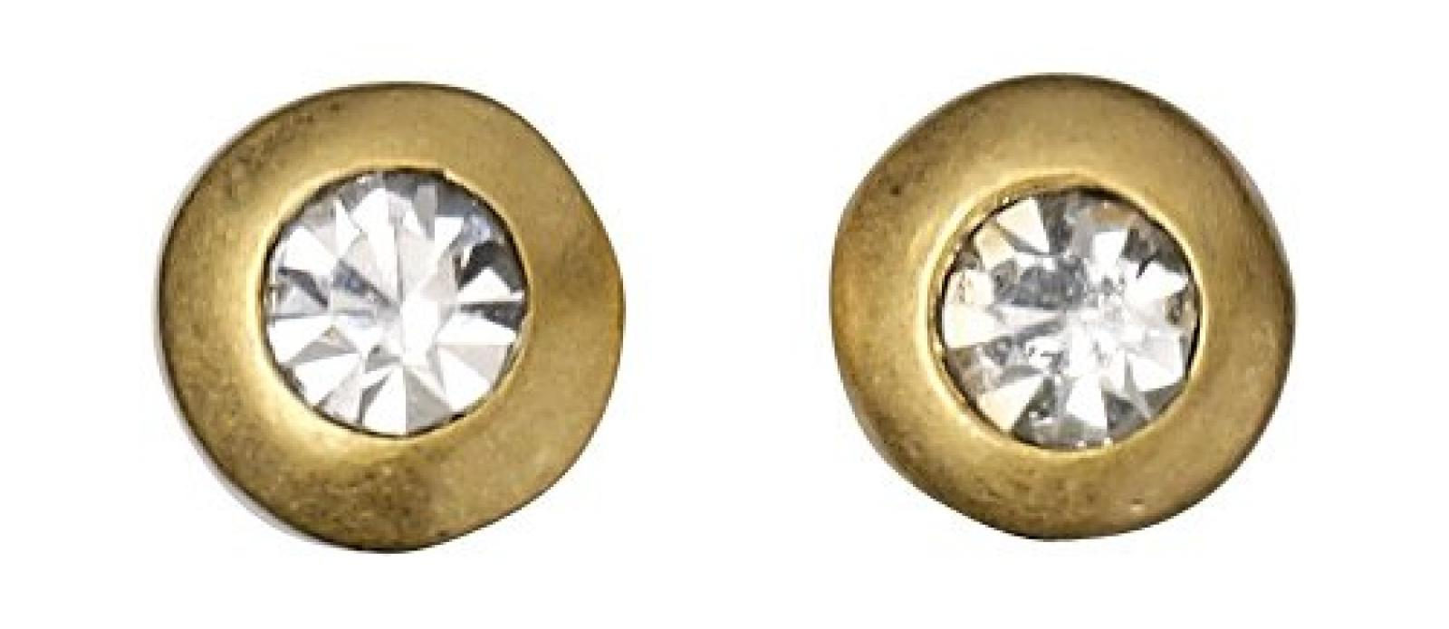 Pilgrim Jewelry Damen-Ohrstecker aus der Serie Classic vergoldet weiß 0.6 cm 601312013