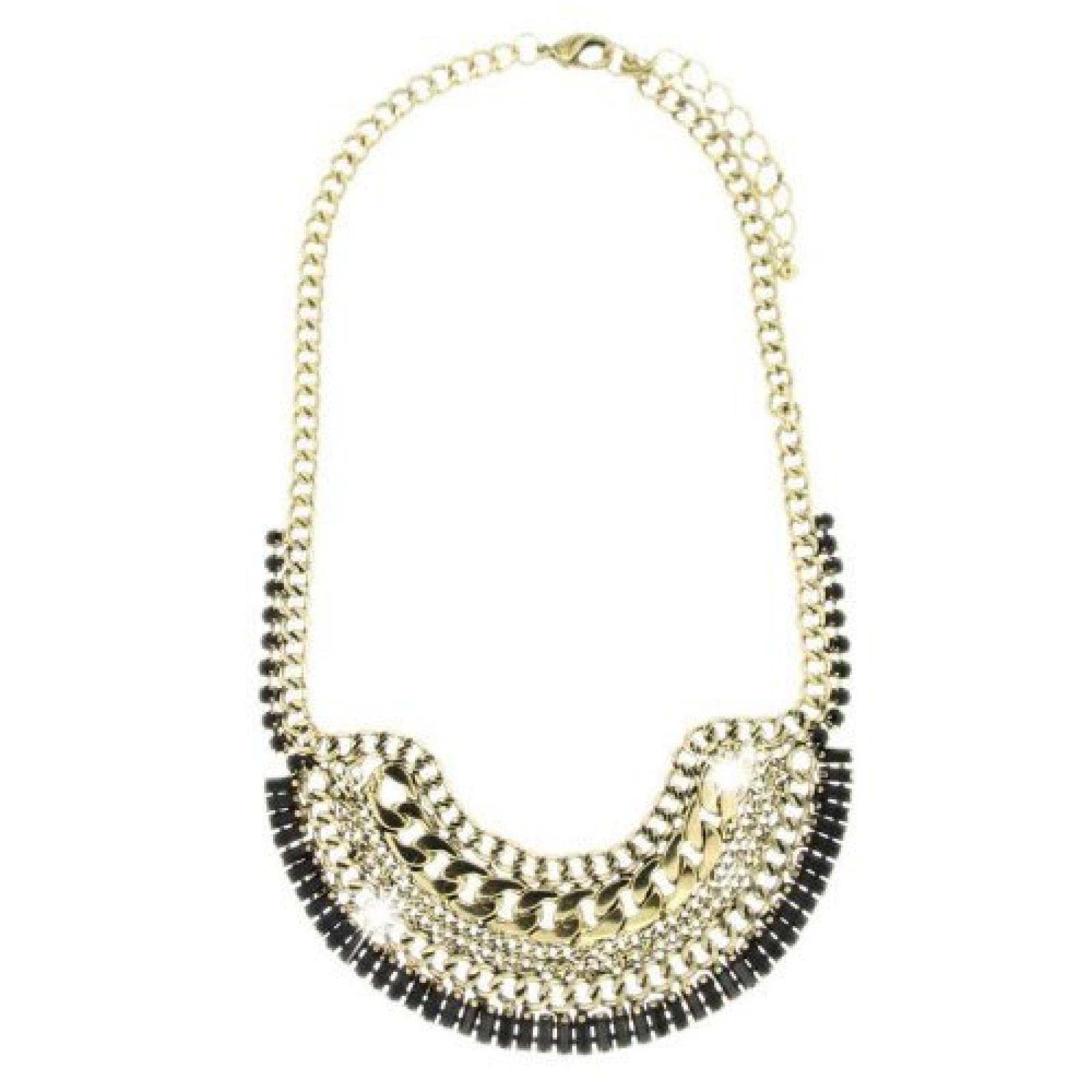 Sweet Deluxe Damen Halskette Metall rhodiniert Glas 45 cm Sold/Schwarz 2916