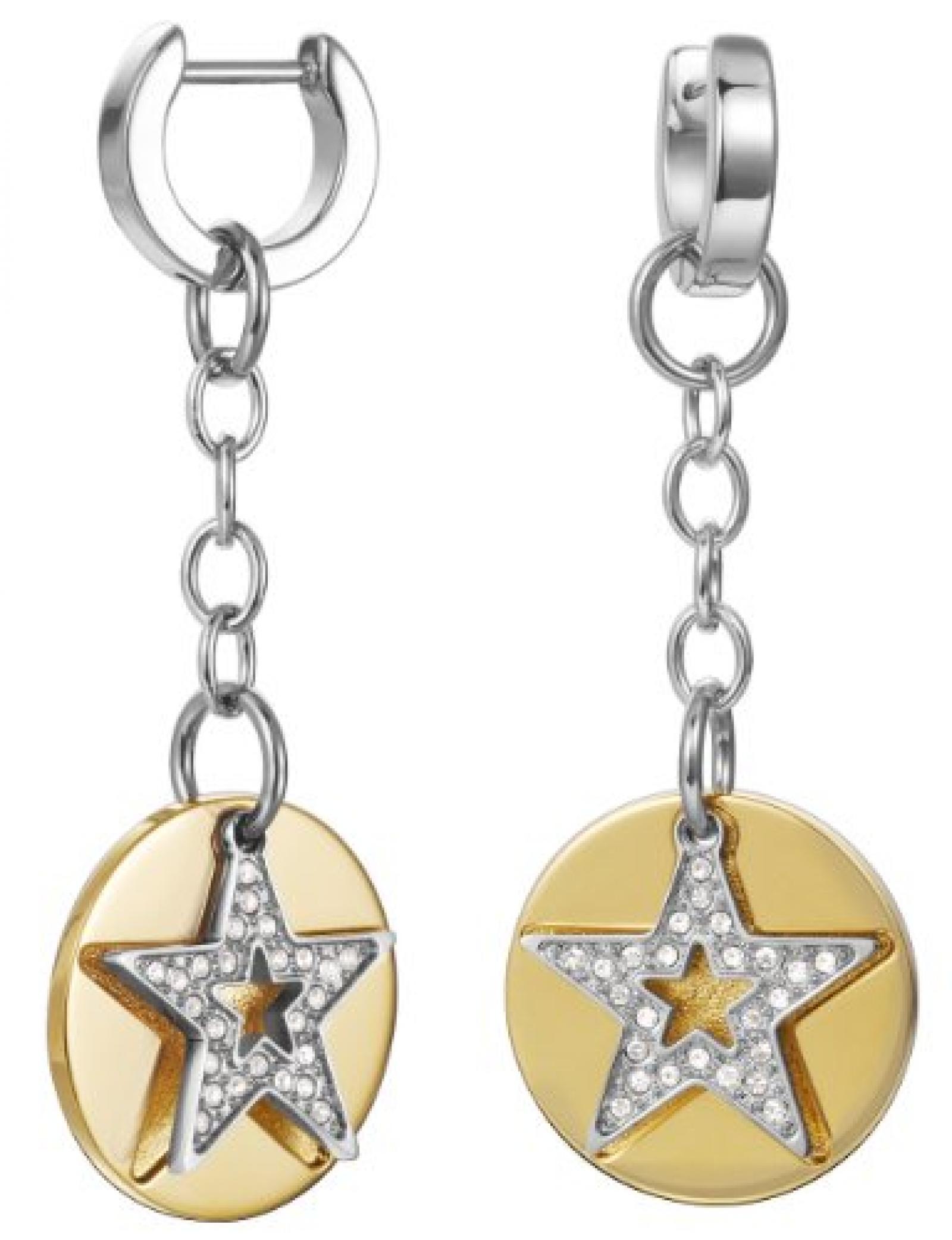 Esprit Damen-Creolen Edelstahl rhodiniert Kristall Zirkonia Great Star Gold weiß ESCO11494B000