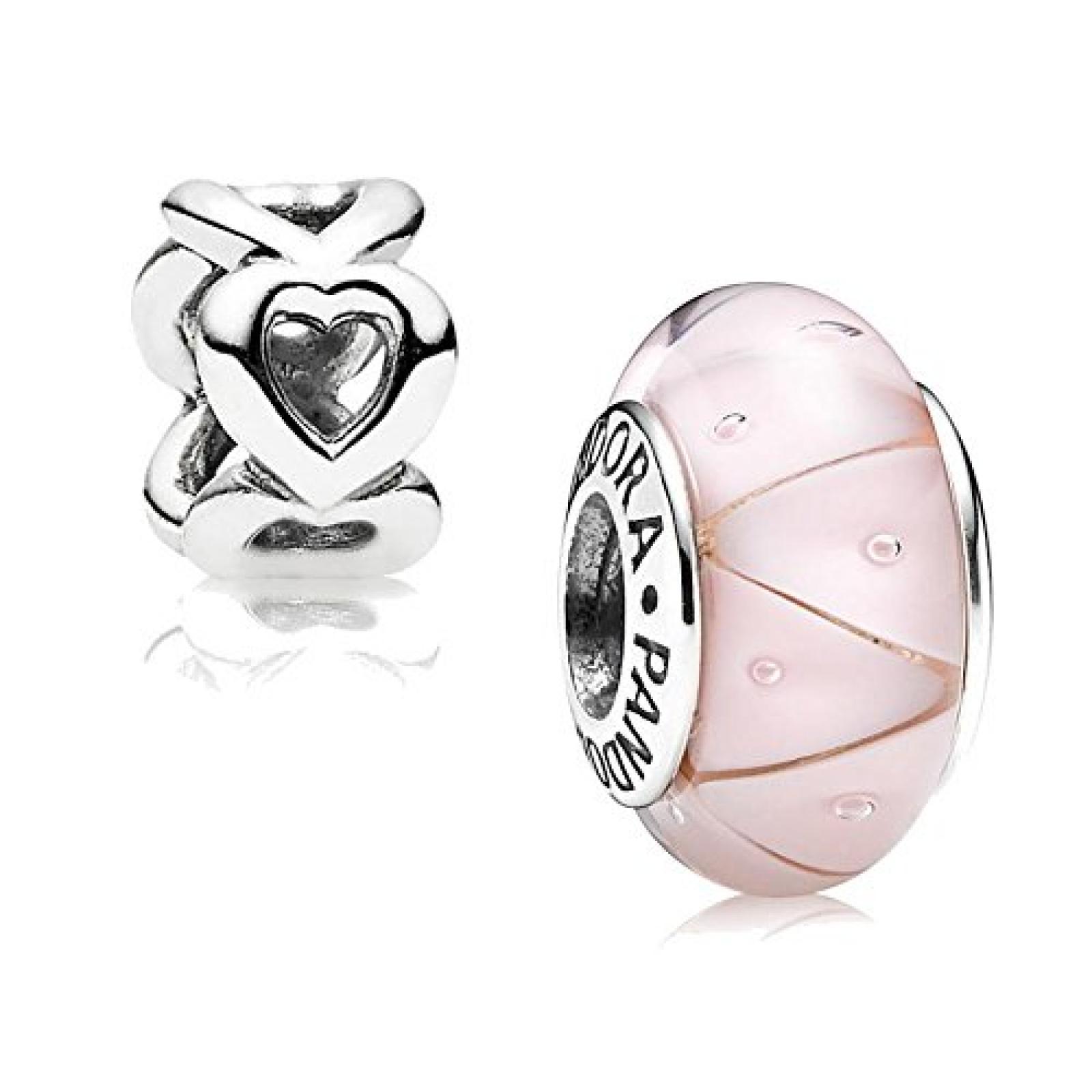 Original Pandora Geschenkset - 1 Silber Muranoglas Element Zick-Zack Rosa 790922 und 1 Silber Zwischenelement Offene Herzen 790454