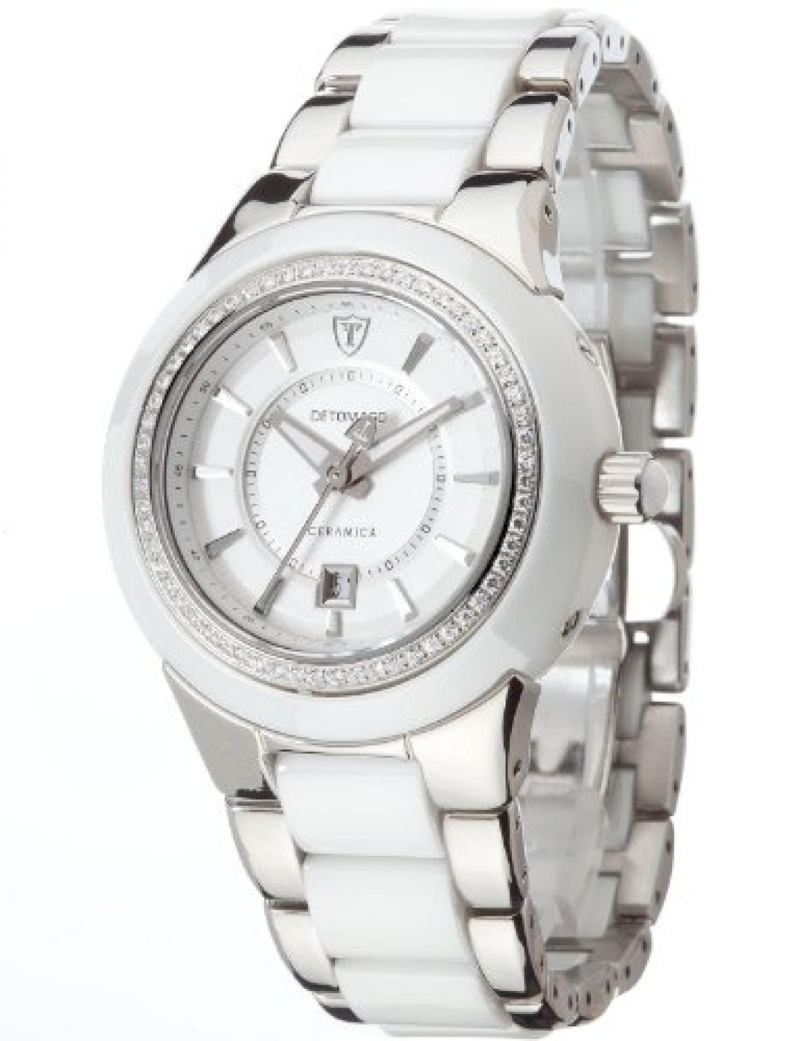 Detomaso Damen-Armbanduhr CARMELA White Ladies Analog Quarz Keramik DT3011-A