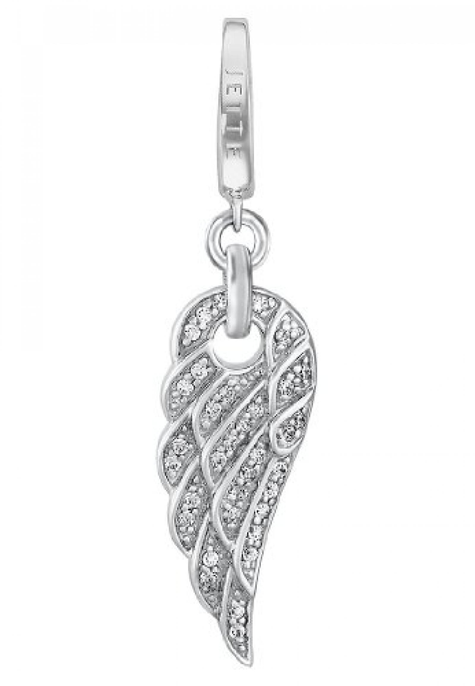 JETTE Charms Damen-Charm Angelwing 925er Silber rhodiniert 35 Zirkonia One Size, silber