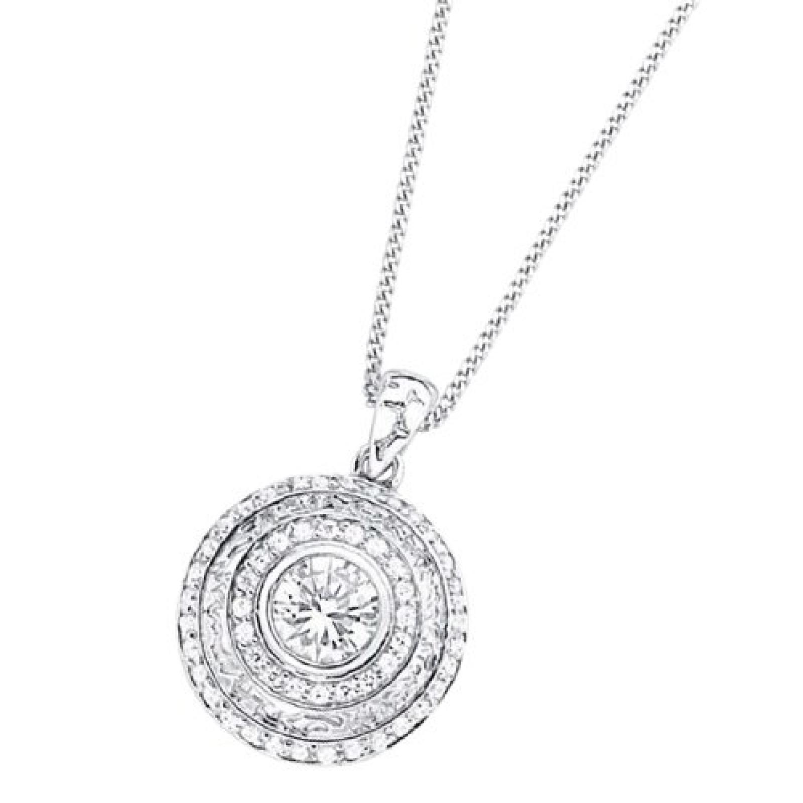 Celesta Damen-Halskette 925 Sterling Silber 42cm Zirkonia weiß 500244574L-42
