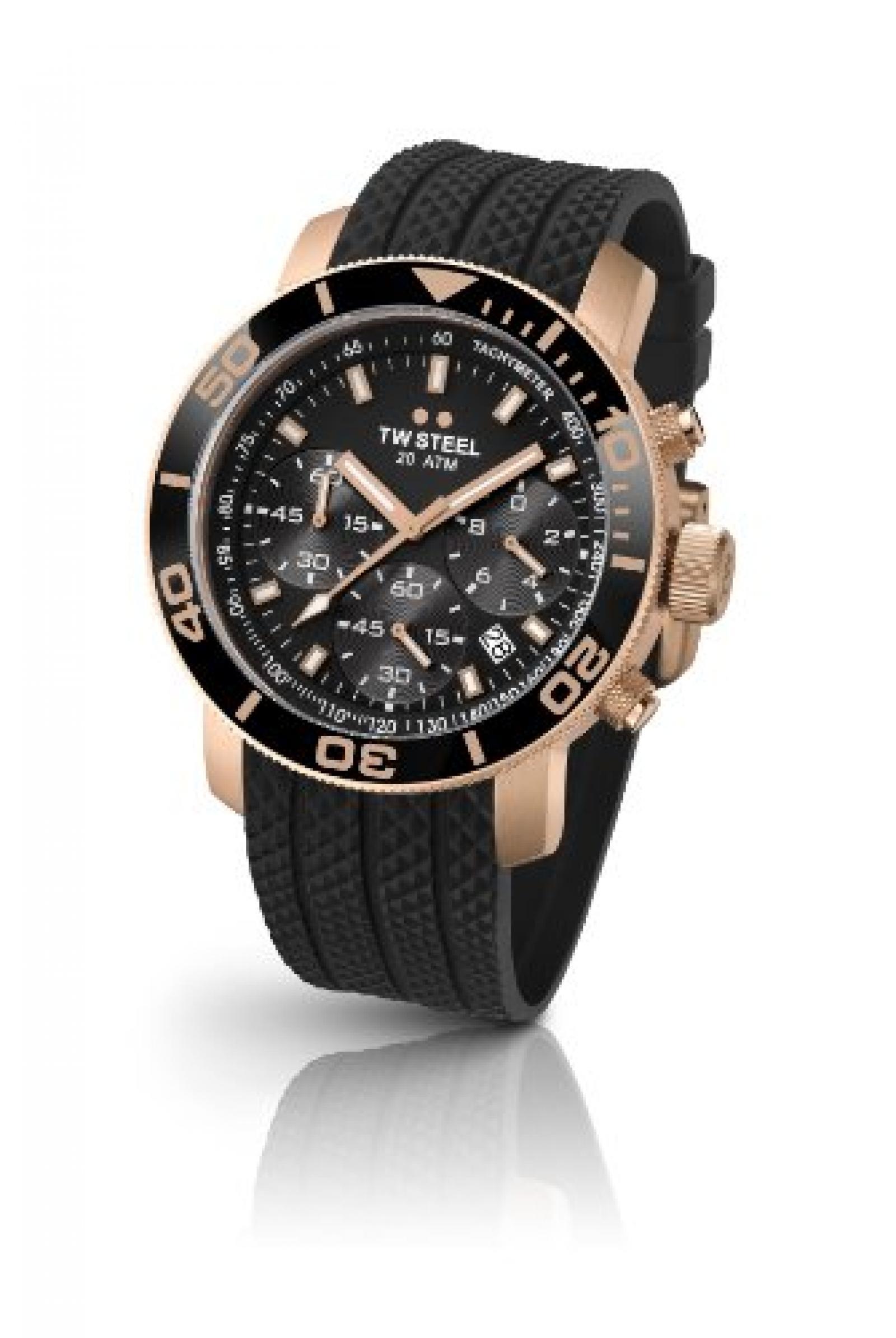 TW Steel Herren-Armbanduhr XL Diver Chronograph Quarz Kautschuk TW-702