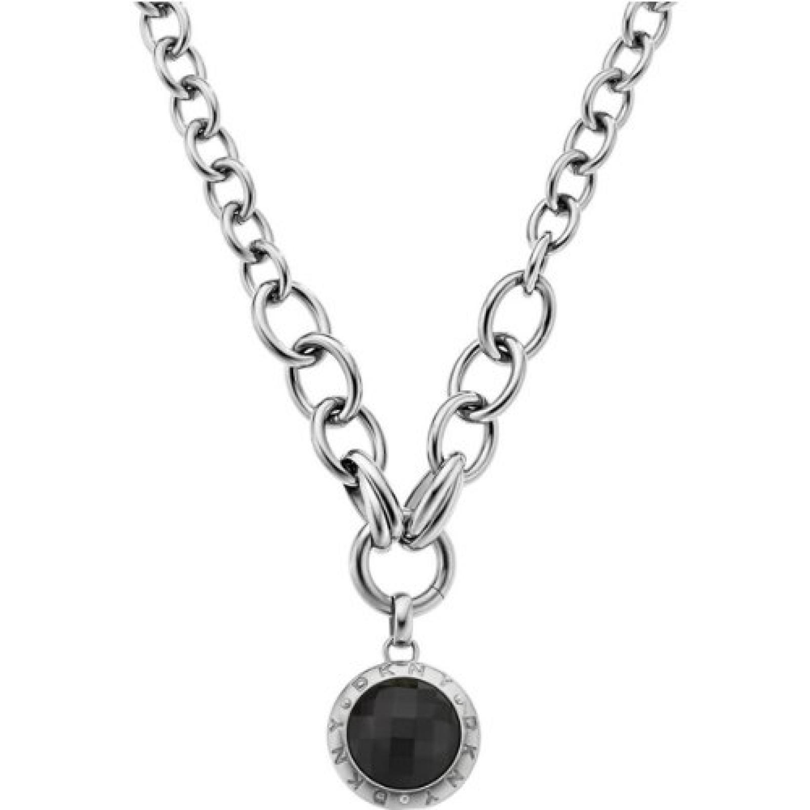 DKNY Damen Halskette Edelstahl Glaskristall schwarz NJ2054040