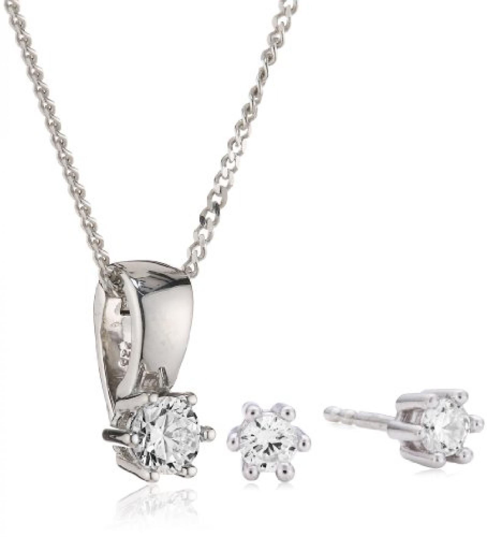 Celesta Damen-Set: Halskette + Ohrringe 925 Sterling Silber rhodiniert Zirkonia Celesta 42 cm weiß 500201435-42