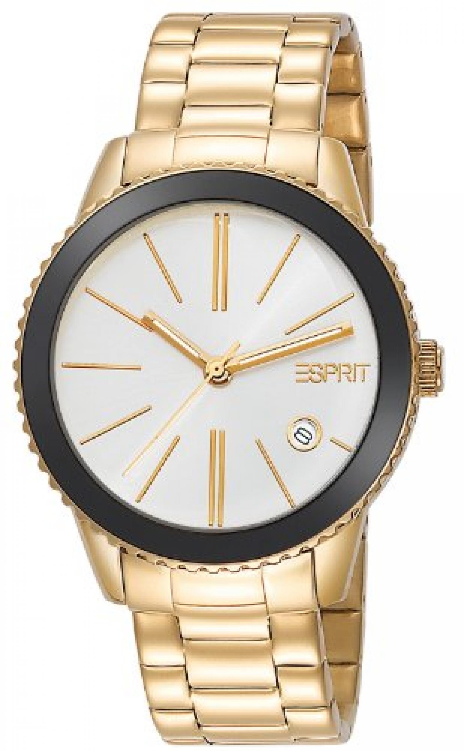 Esprit Damen-Armbanduhr XS Marin Halo Gold Analog Quarz Edelstahl ES105062006