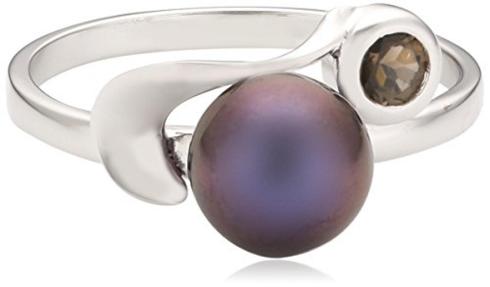 Zeeme Damen-Ring 925 Sterlingsilber Süßwasserzuchtperle schwarz und Rauchquarz 360270892-054