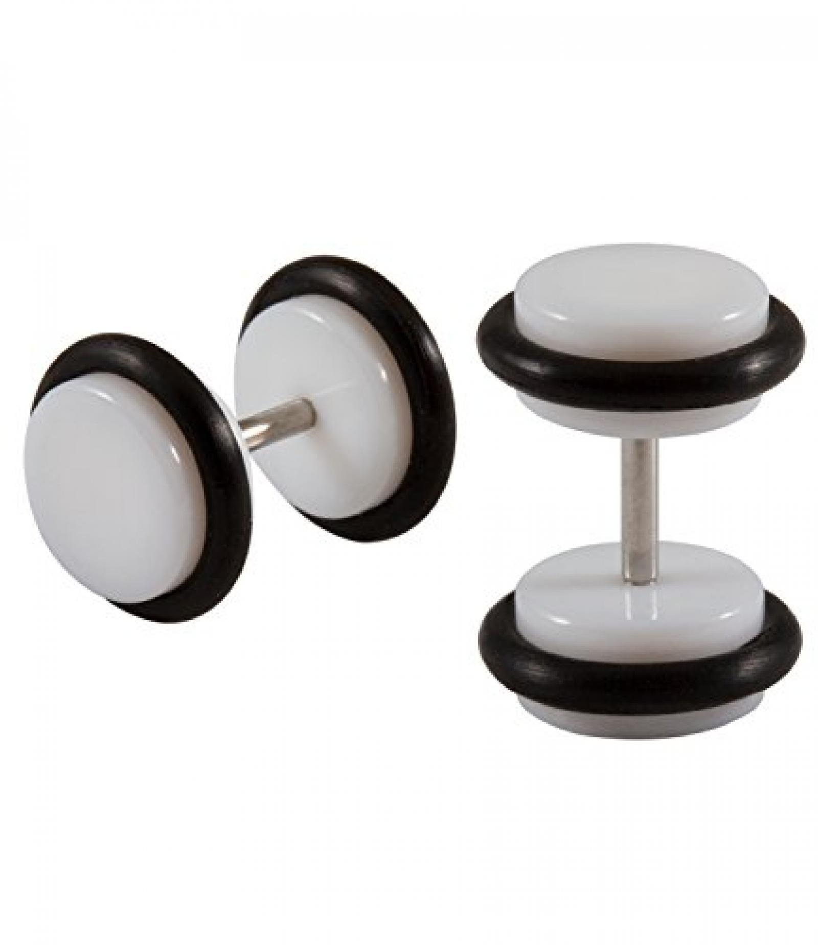 SIX MAN coole, weiße Fake Plugs mit schwarzem Gummi Rand (109-827)