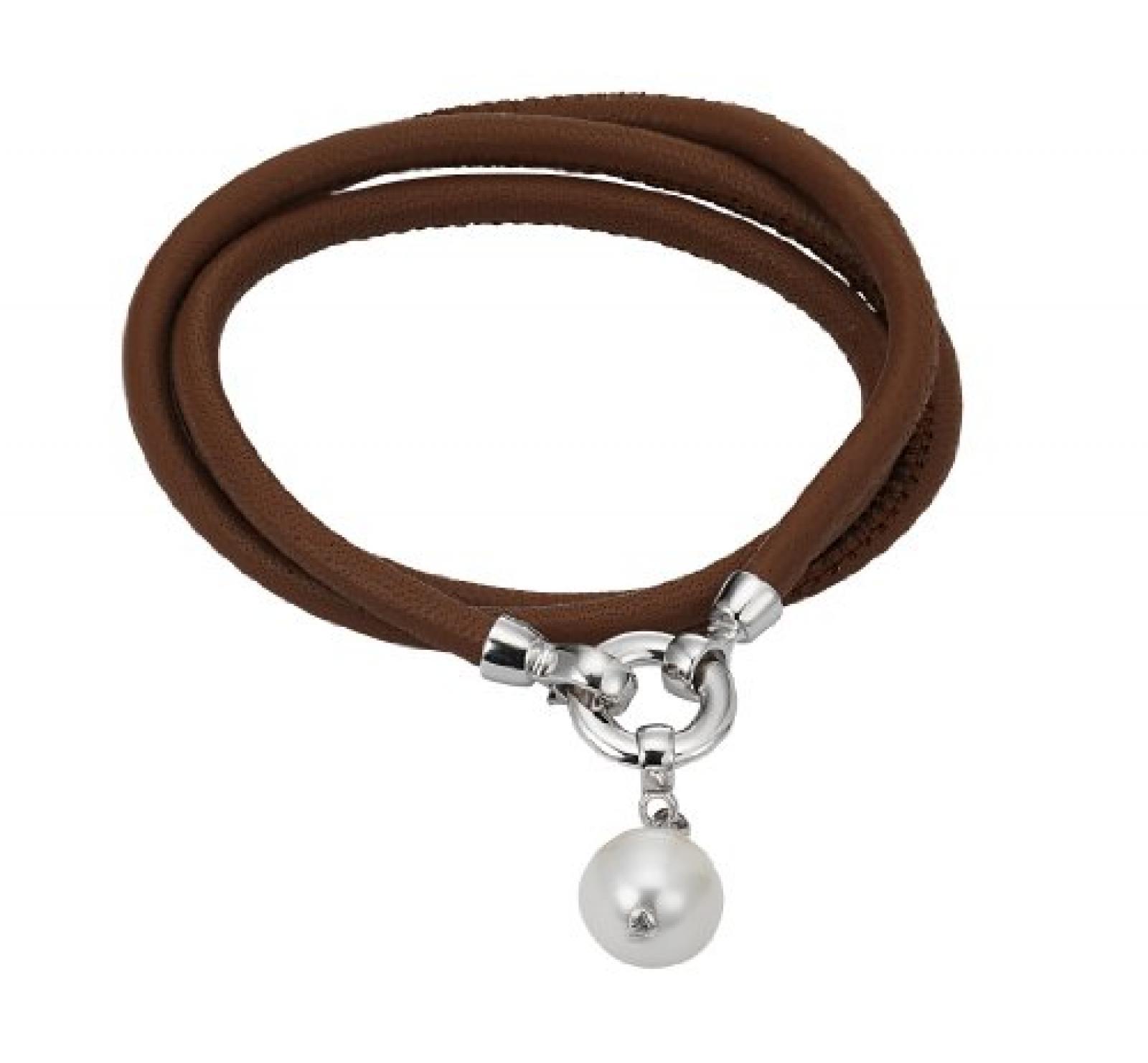 Adriana Damen-Set: Halskette + Armband Süßwasser Zuchtperlen 925 Sterling Silber L1-hellbraun
