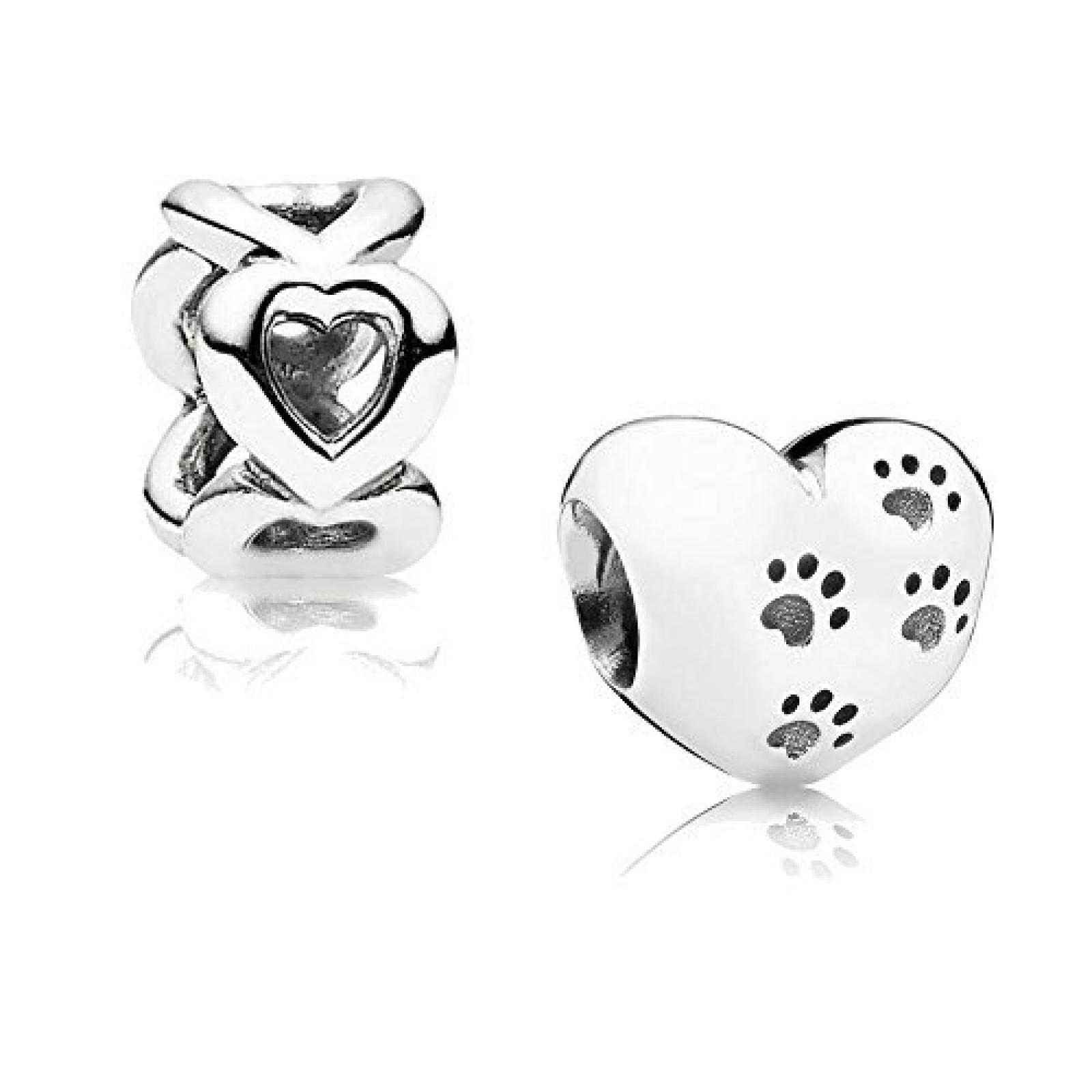 Original Pandora Geschenkset - 1 Silber Element Mein bester Freund 791262 und 1 Silber Zwischenelement Offene Herzen 790454