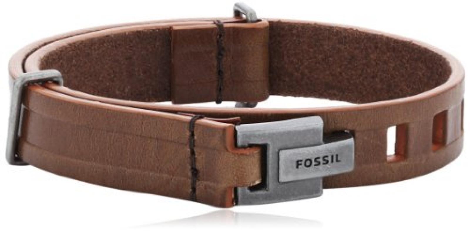 Fossil Herren-Armband Edelstahl 19.5 cm Leder braun JA5944797