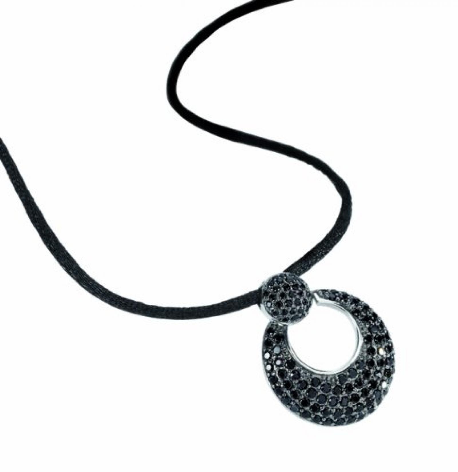 Celesta Damen-Anhänger mit Textilband 42+3cm 925 Sterling Silber Zirkonia schwarz 360250170
