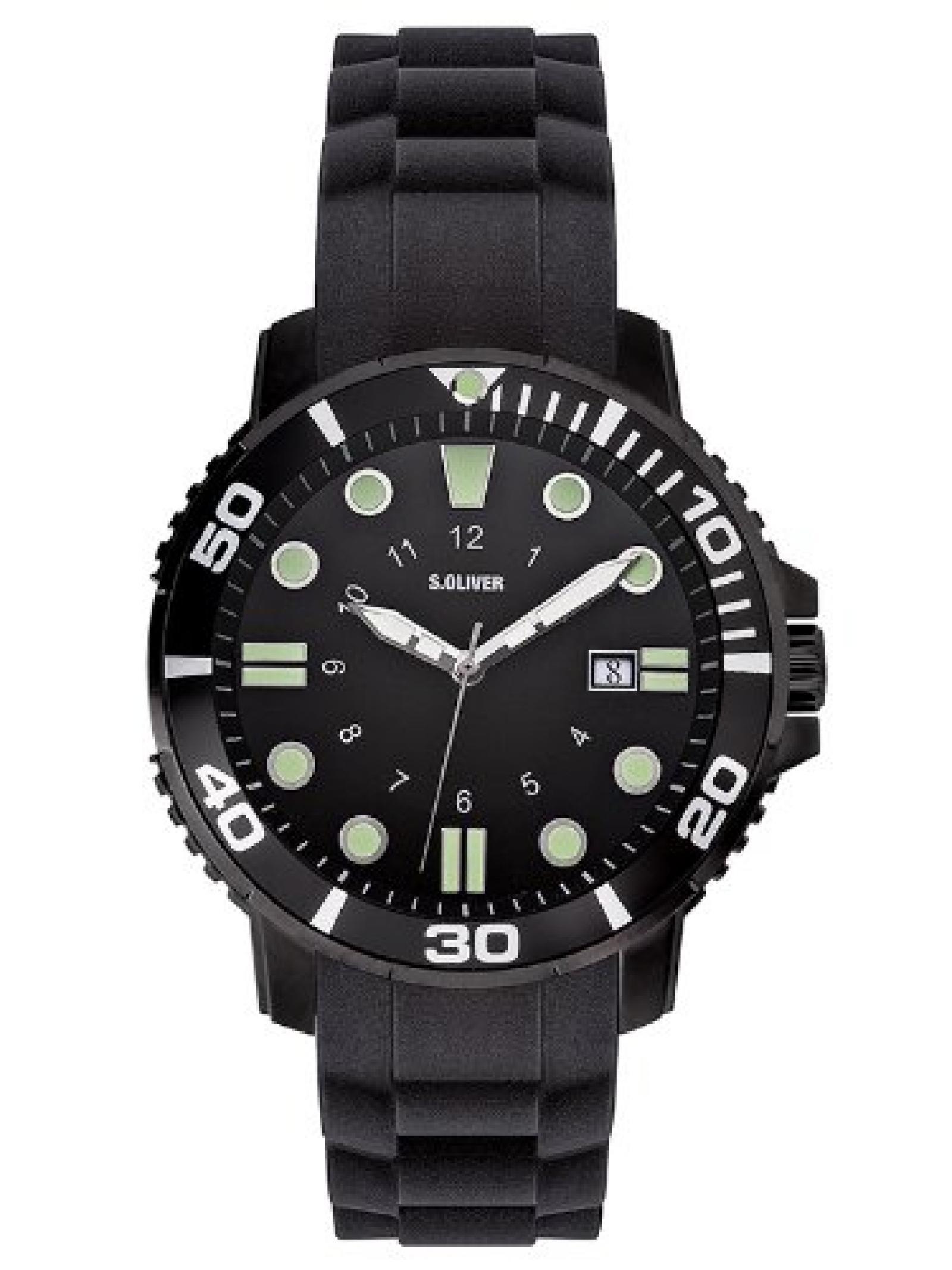 s.Oliver Herren-Armbanduhr XL Analog Quarz Silikon SO-2626-PQ