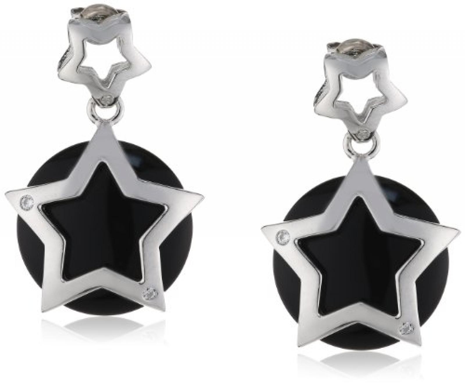 Viventy Damen-Ohrstecker 925 Sterling Silber mit 3 Zirkonia in weiss und 1 Onyx in schwarz 763584