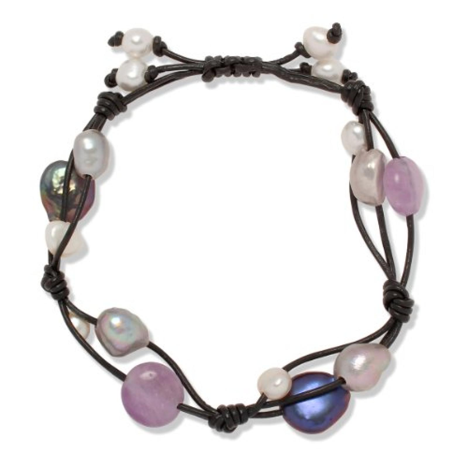 Valero Pearls Fashion Collection Damen-Armband Hochwertige Süßwasser-Zuchtperlen in ca.  5-8 mm Oval weiß / silbergrau / pfauenblau  Leder schwarz Amethyst 18 bis 24 cm   60020120