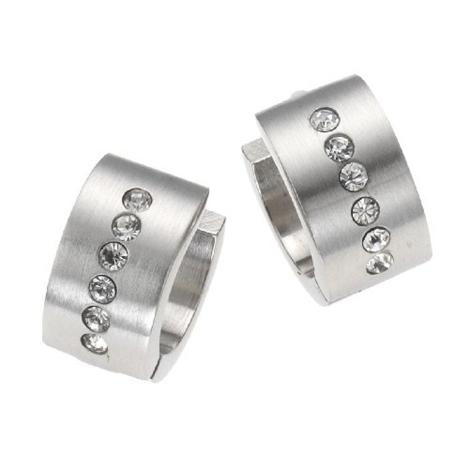 ZEEme Stainless Steel Edelstahlcreole mit eingesetzten Kristallen 389010009