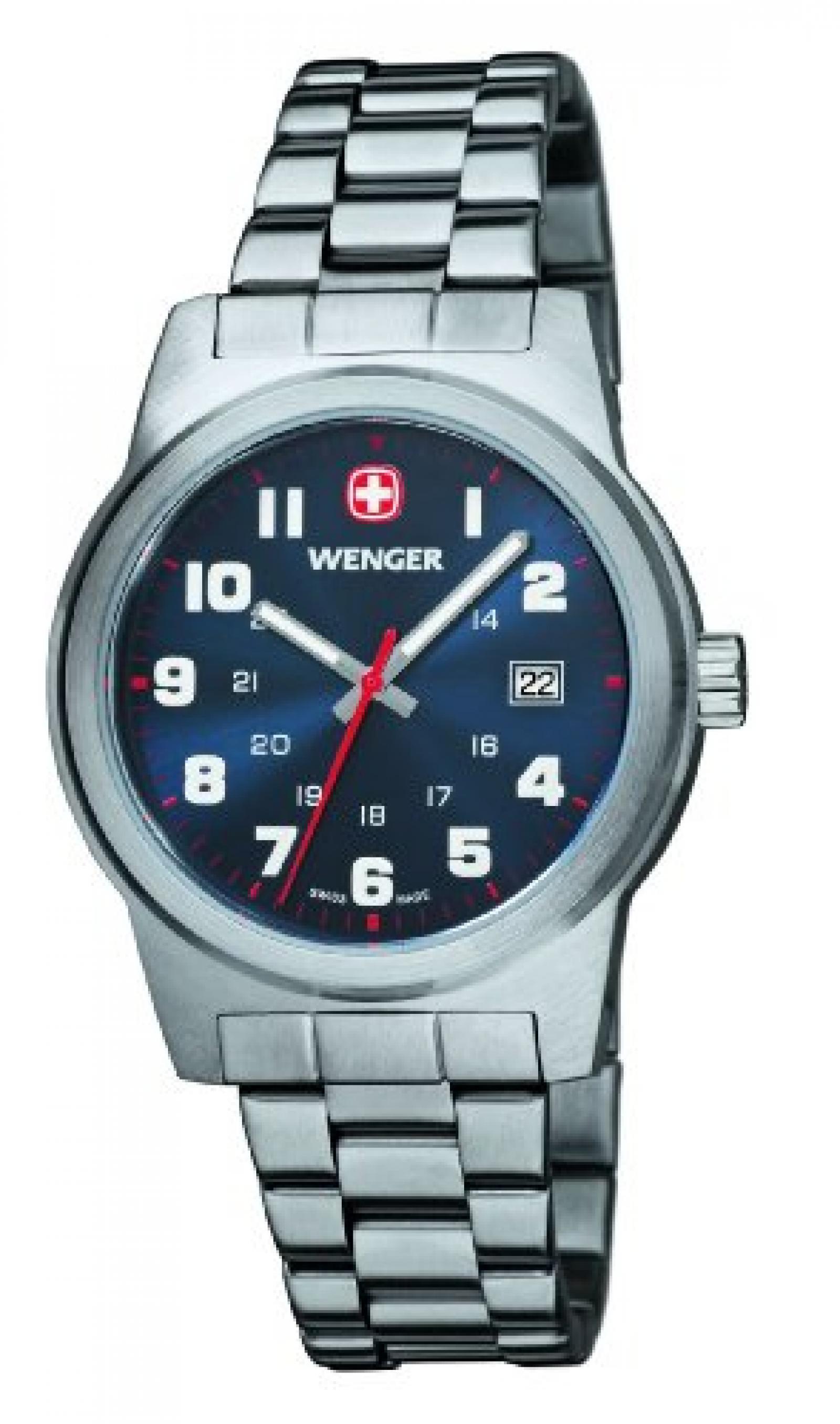 Wenger Herren-Armbanduhr XL Field Classic Analog Quarz Edelstahl 01.0441.101