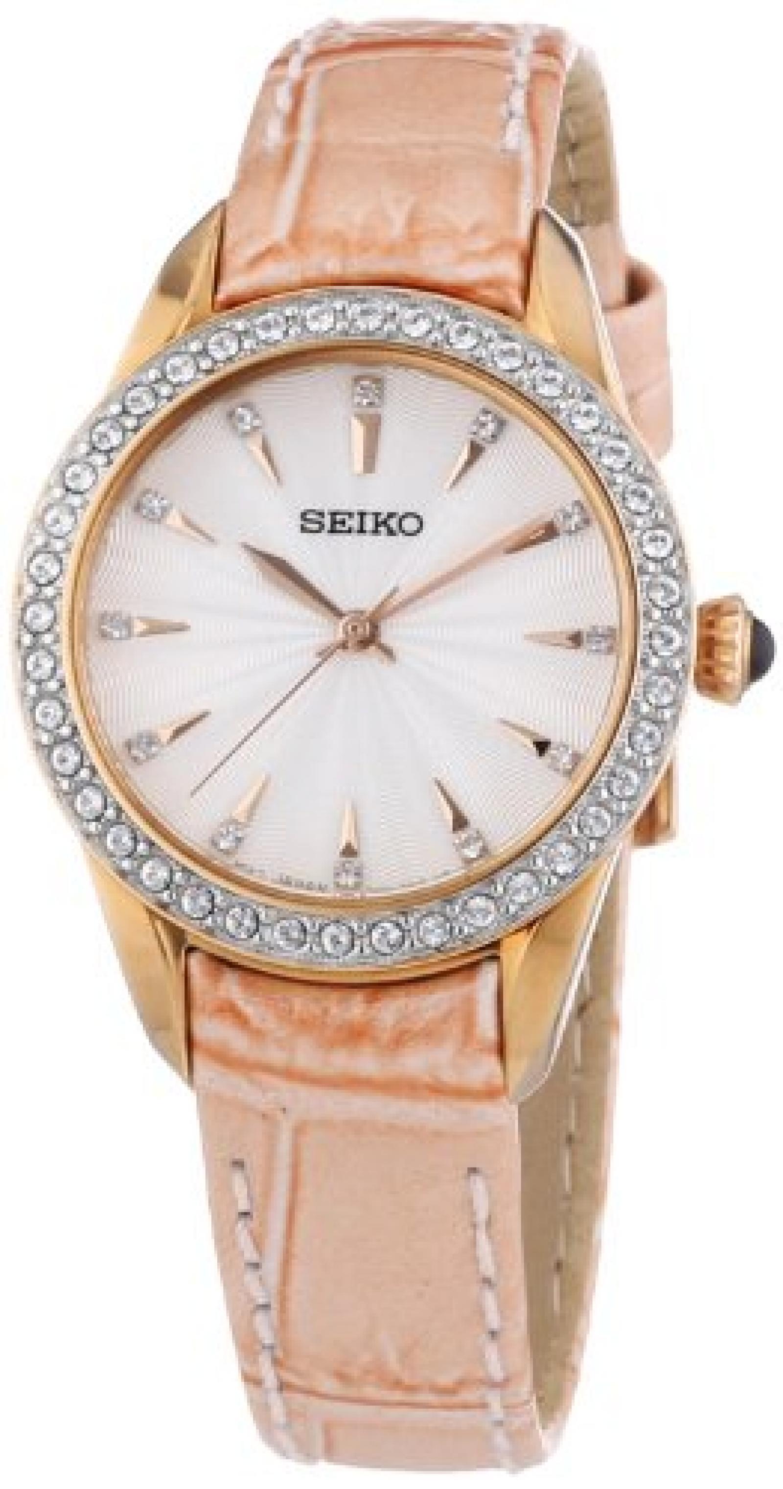 Seiko Damen-Armbanduhr XS Analog Quarz Leder SRZ388P1