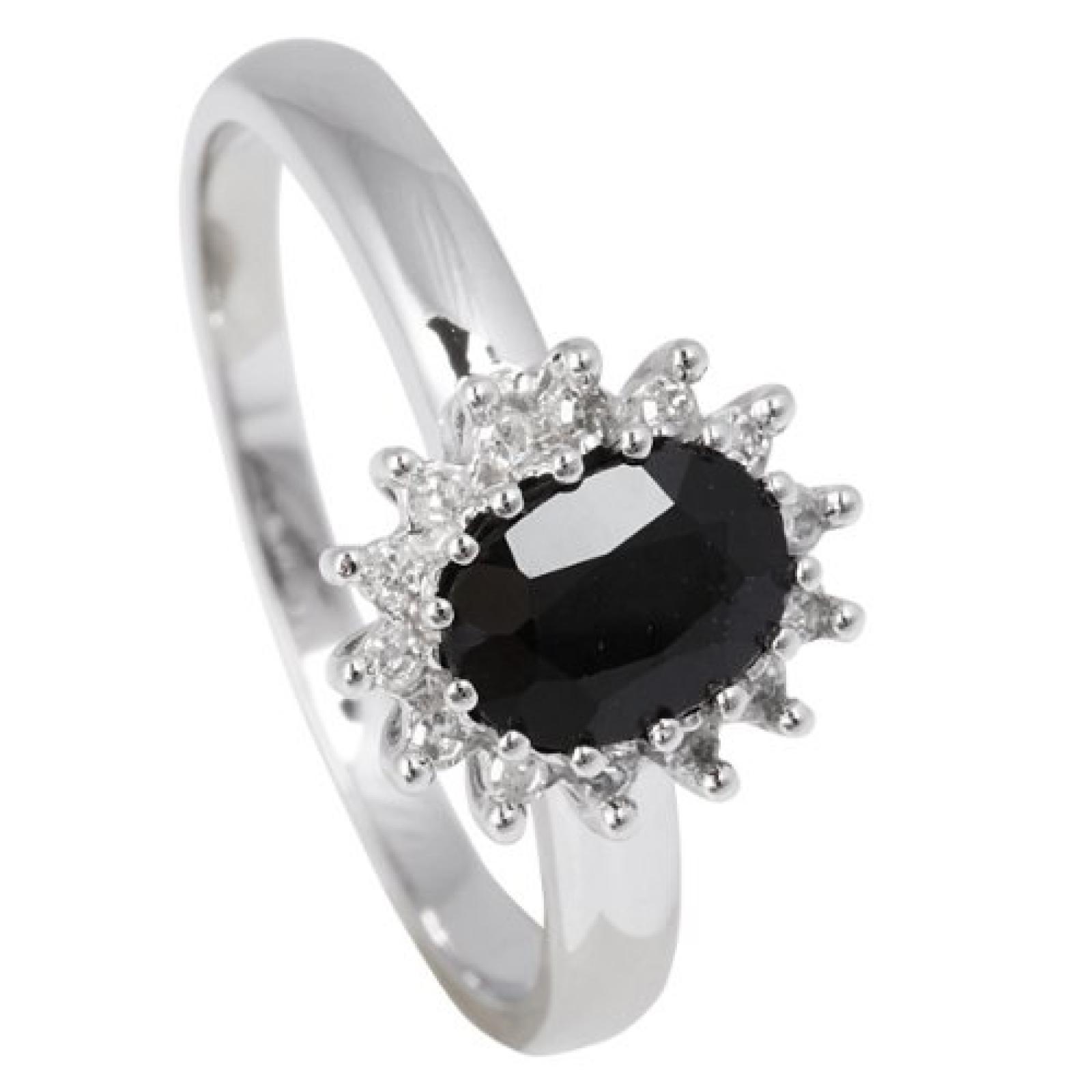 Bella Donna Damen-Ring 375 Weißgold 14 Diamanten 1 Saphir