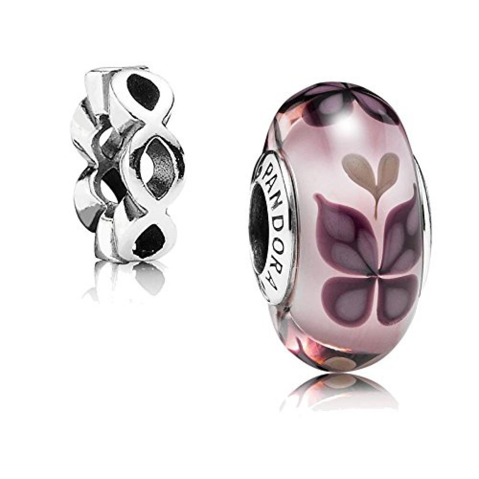 Original Pandora Geschenkset - 1 Silber Muranoglas Element Rosa Schmetterling 791621 und 1 Silber Zwischenelement Sonnenrad 790867