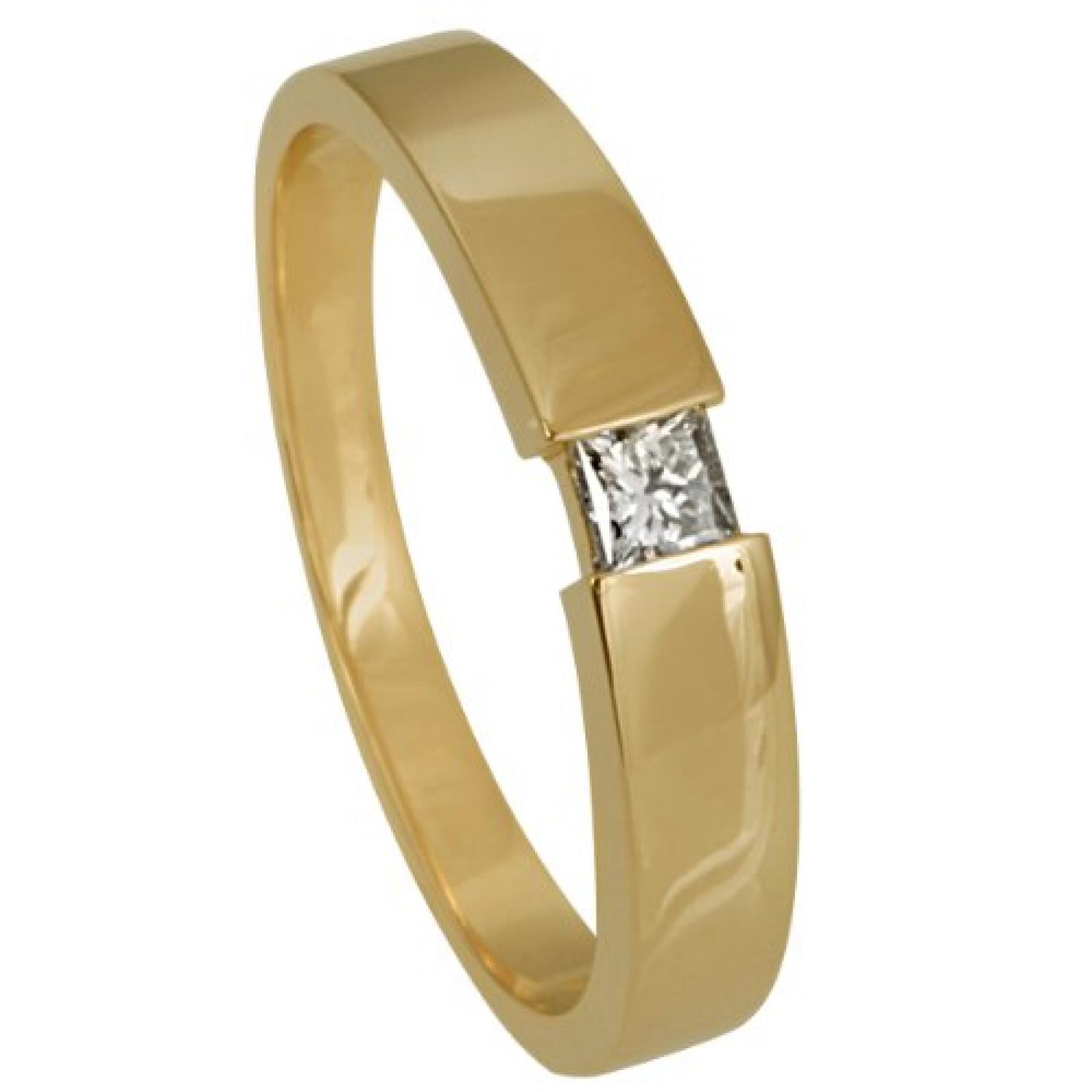 Bella Donna Damen-Ring 585 Gelbgold 1 Diamant Princess 0.15 ct.