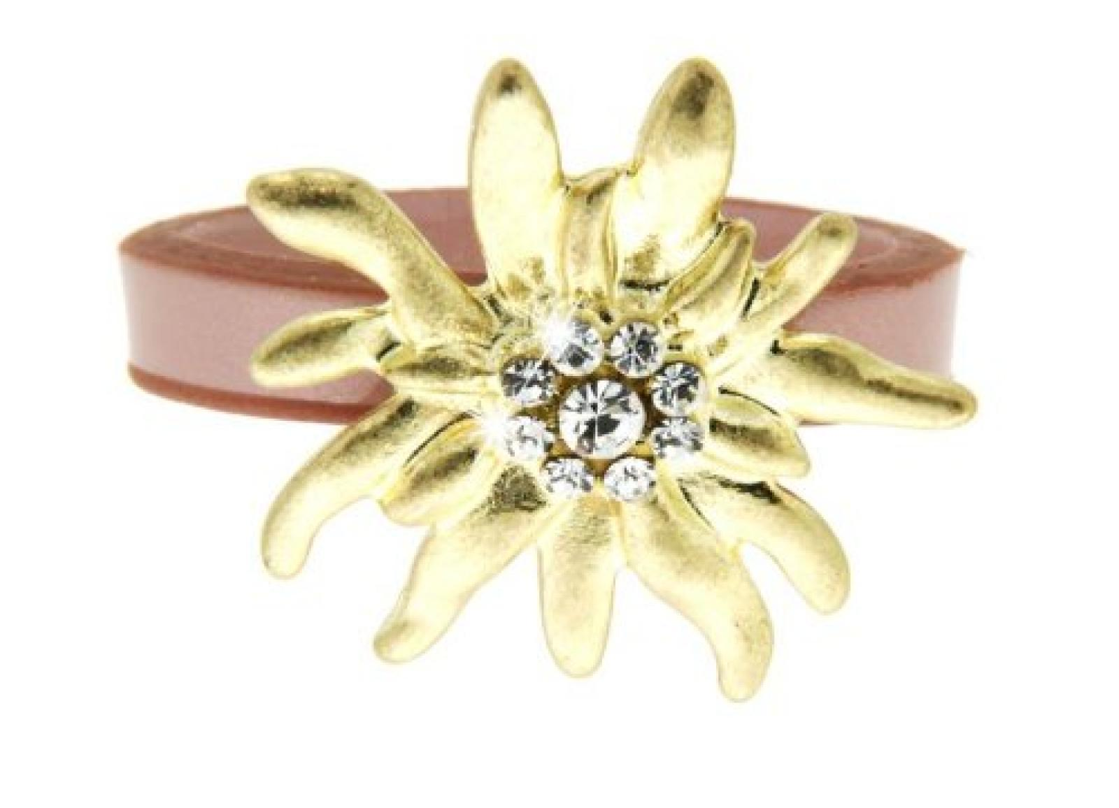 Sweet Deluxe Damen-Ring Messing Wiesn Edelweiß gold/rose Gr. 56 (17.8) 2451