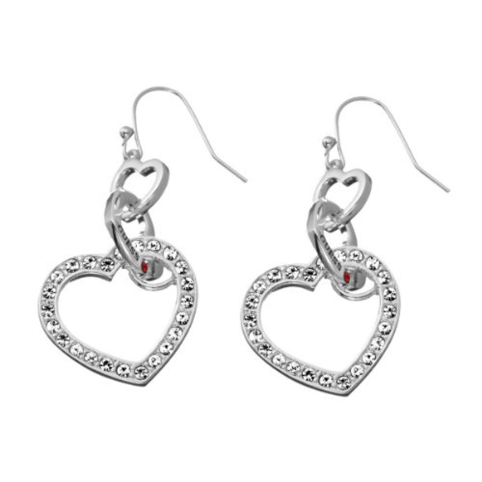 Guess Damen-Ohrhänger Metall mit Herz UBE81011