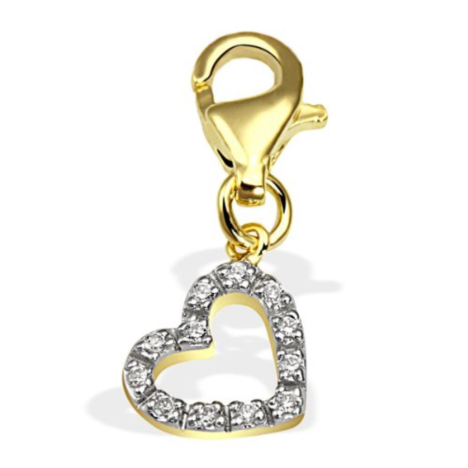Goldmaid Damen-Charm Herz 333 Gelbgold 12 Zirkonia Gch A4416GG