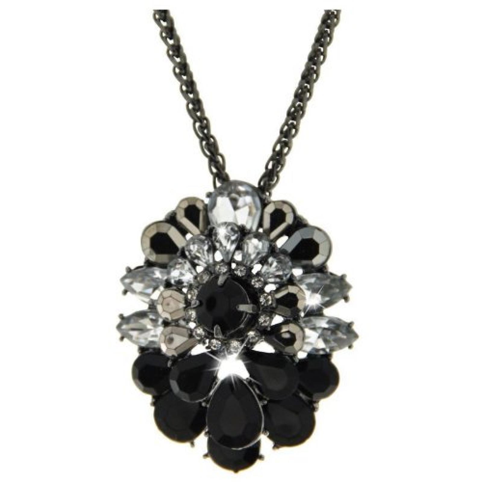 Sweet Deluxe Damen Halskette Metall rhodiniert Glas 45 cm silber/schwarz/crystal 3070