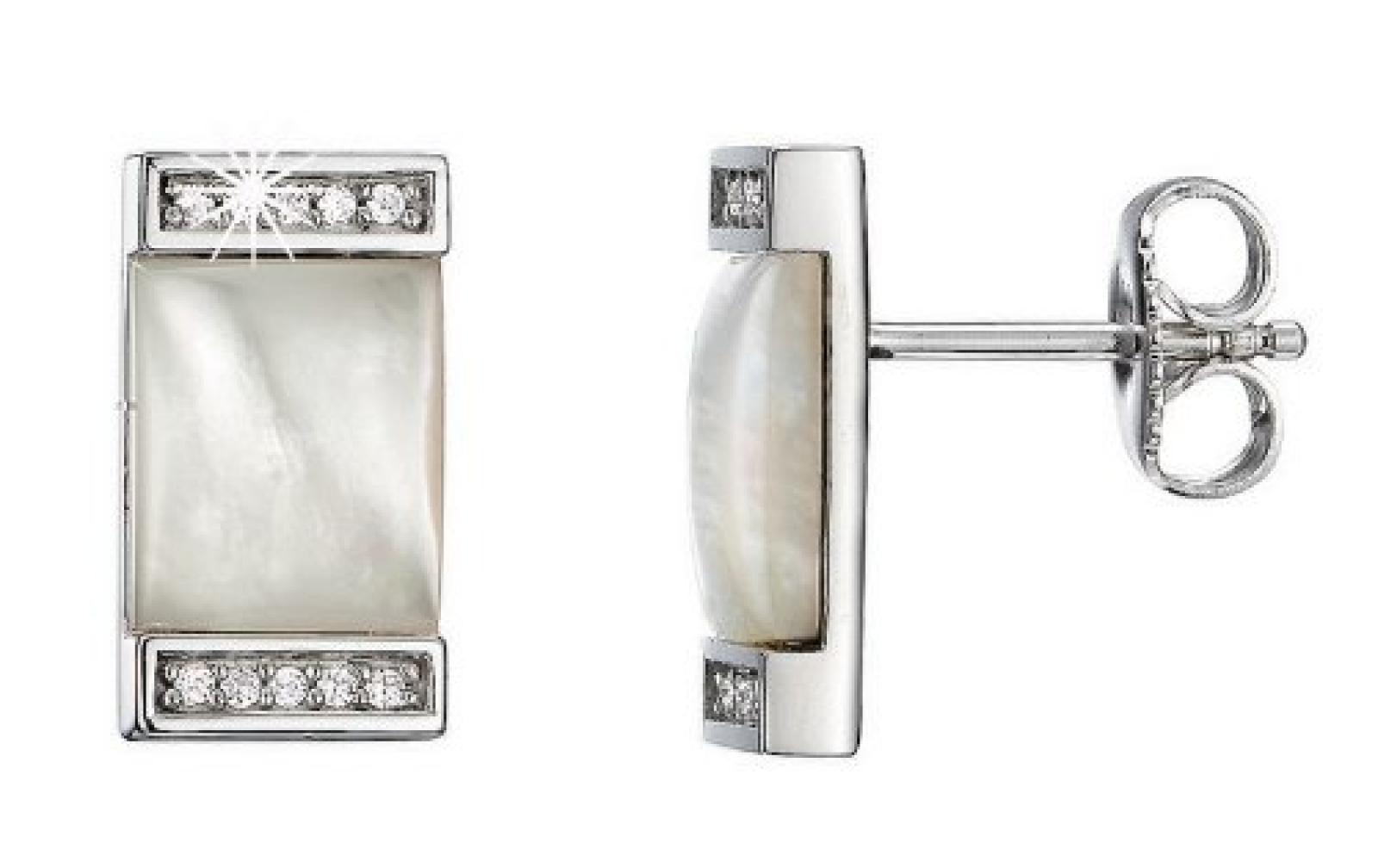 Pierre Cardin Damen-Ohrstecker 925 Sterling Silber rhodiniert Kristall Zirkonia Crépuscule weiß PCER90209B000