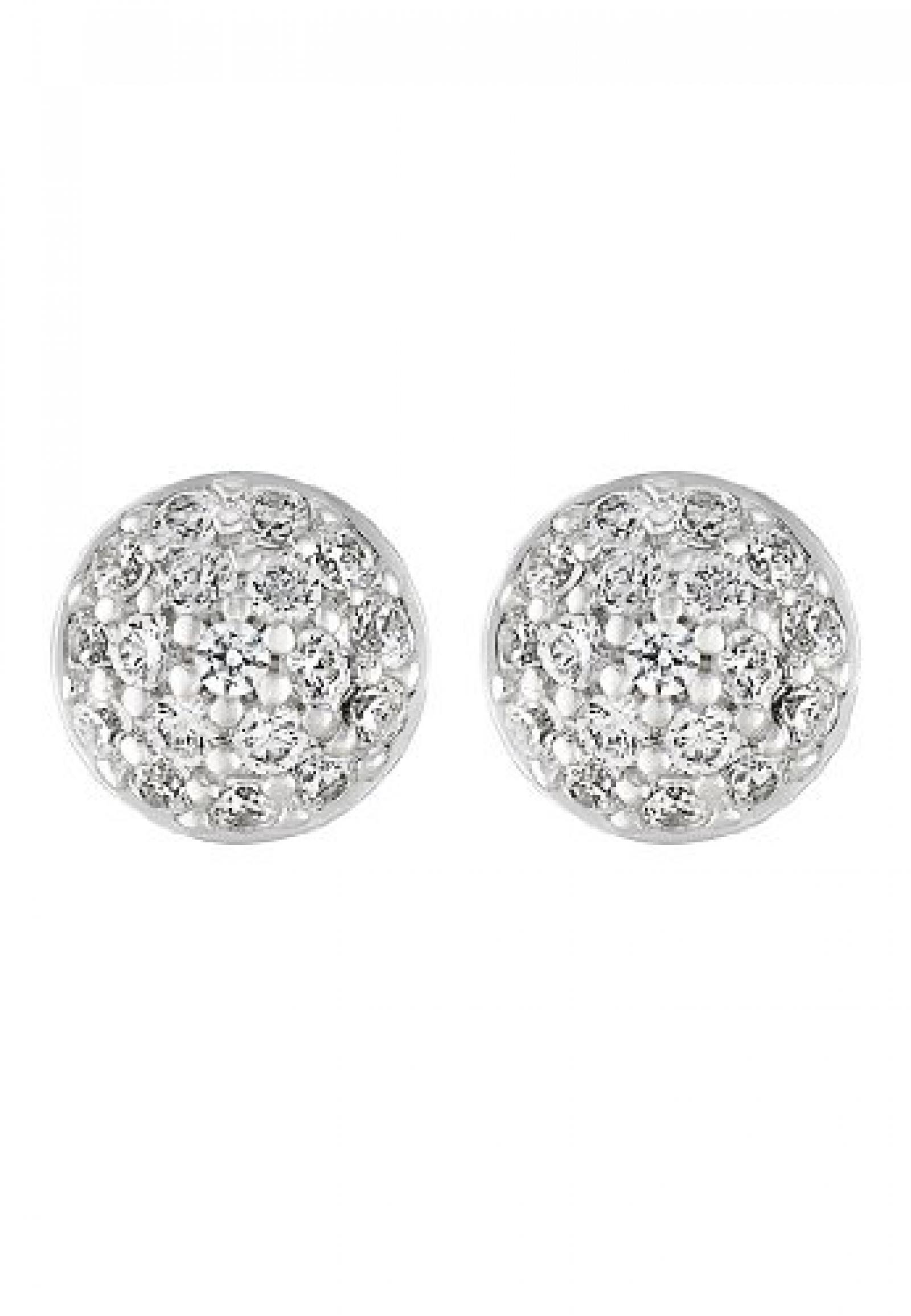 JETTE Silver Damen-Ohrstecker Precious Bowl 925er Silber rhodiniert 36 Zirkonia One Size, silber